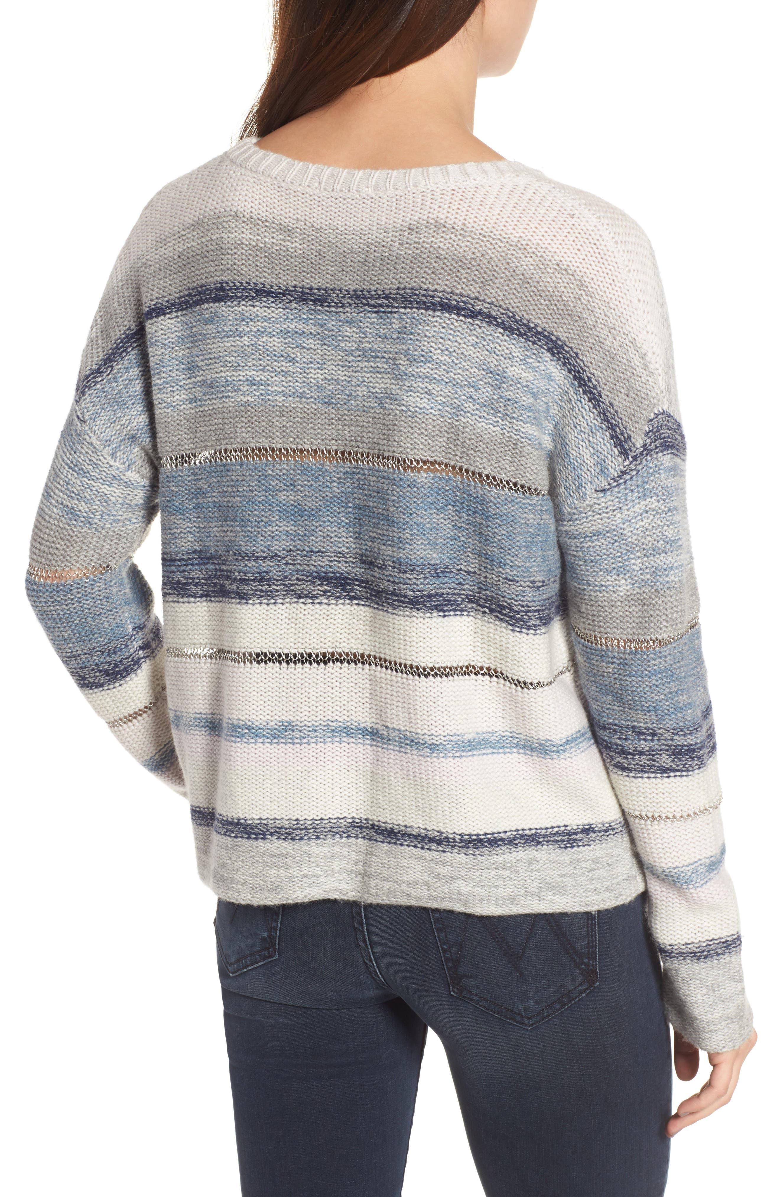 Daphne Stripe Wool & Cashmere Sweater,                             Alternate thumbnail 2, color,                             404