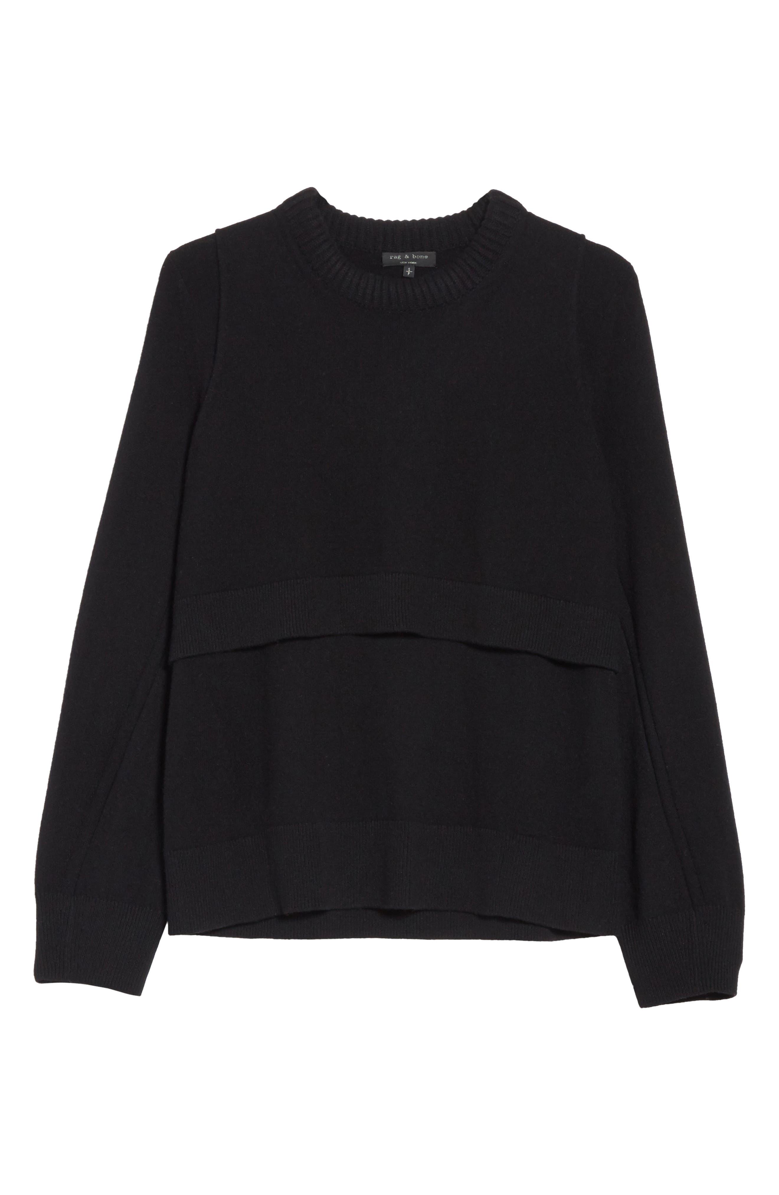 Preston Cashmere Crewneck Sweater,                             Alternate thumbnail 6, color,                             001