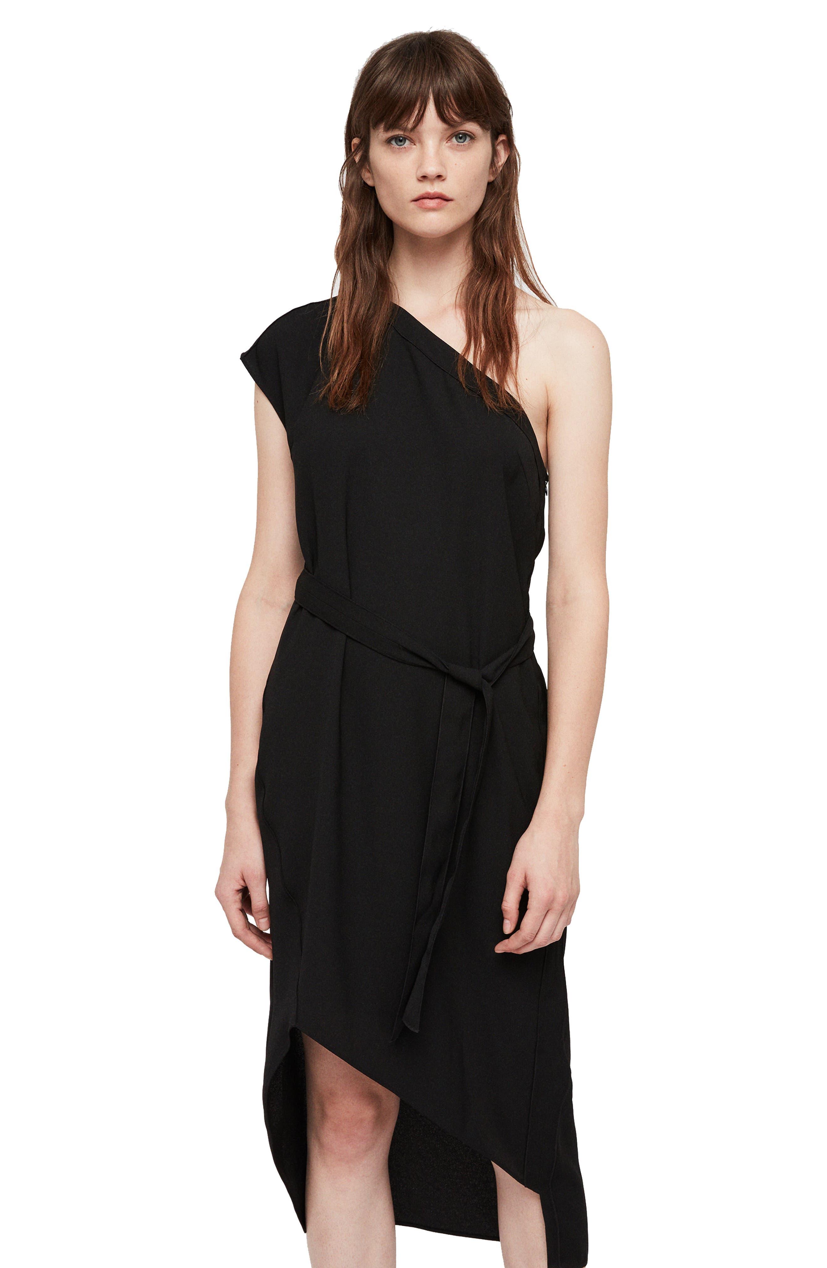 Luana One-Shoulder Dress,                             Alternate thumbnail 4, color,                             001
