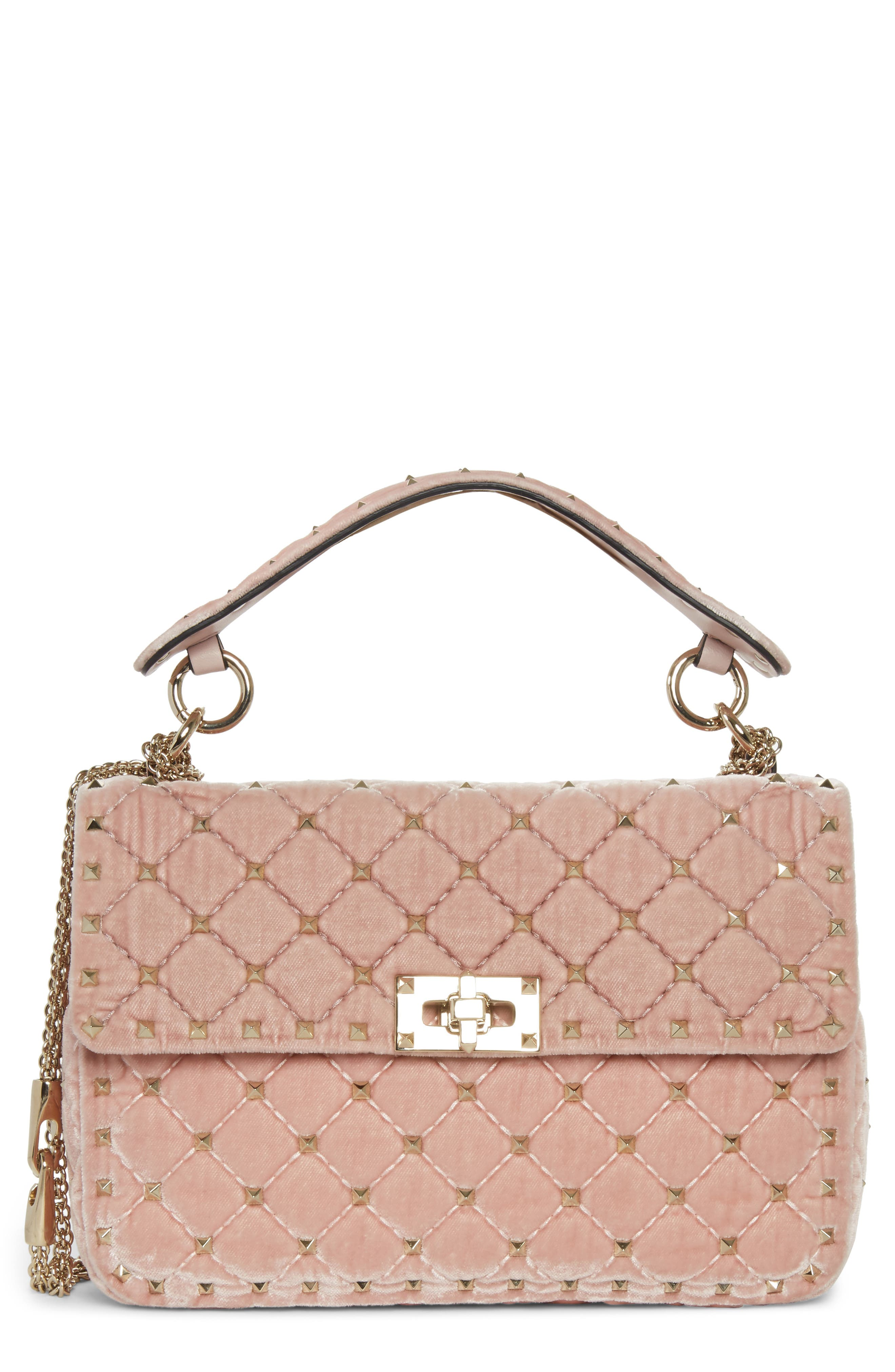 Rockstud Spike Velvet Shoulder Bag,                         Main,                         color, PINK