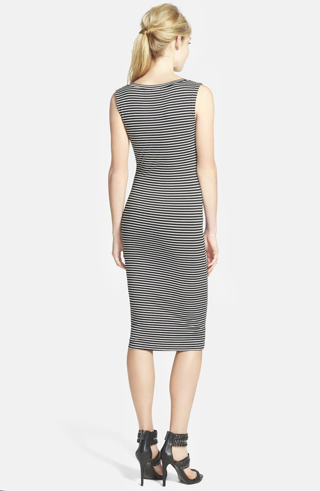 Stripe Body-Con Dress,                             Alternate thumbnail 2, color,                             001
