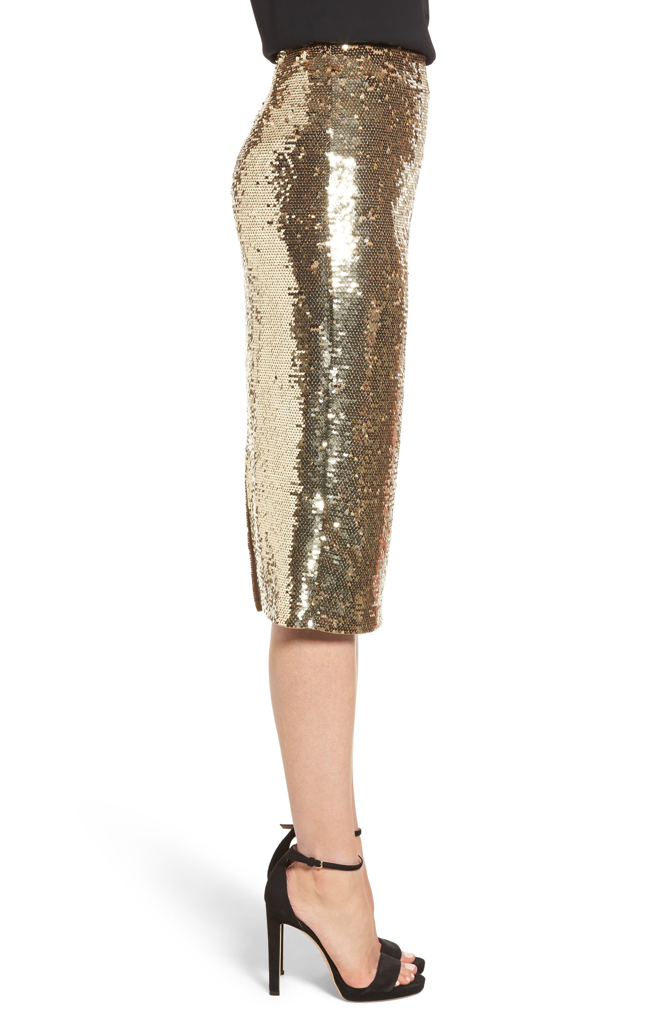 Sequin Pencil Skirt,                             Alternate thumbnail 3, color,                             GOLD