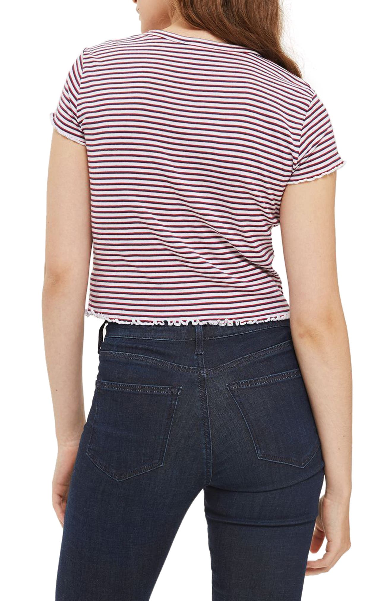 Stripe Lettuce Edge Tee,                             Alternate thumbnail 2, color,
