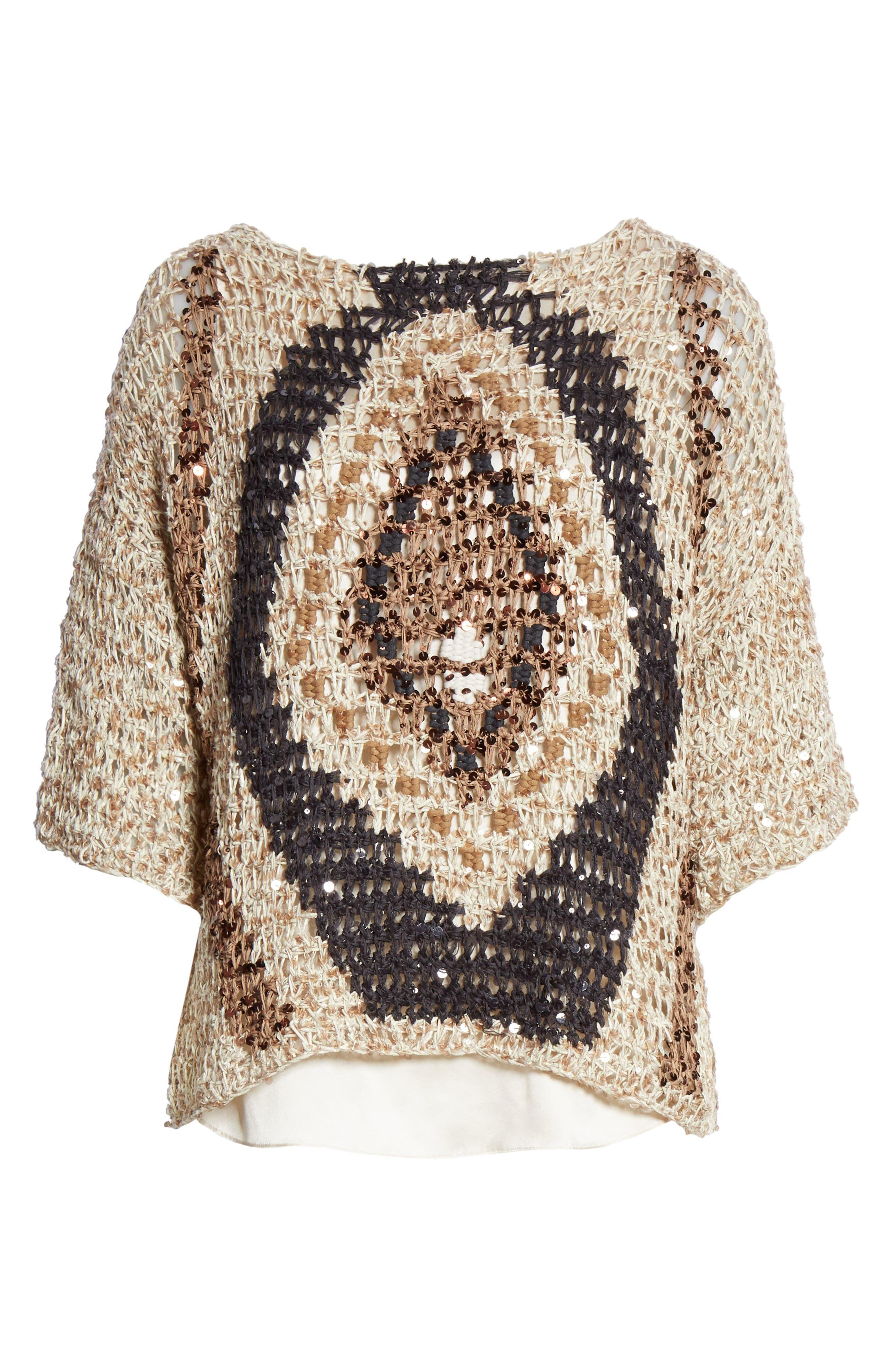Sequin Open Knit Sweater,                             Alternate thumbnail 6, color,                             SUMMER BEIGE