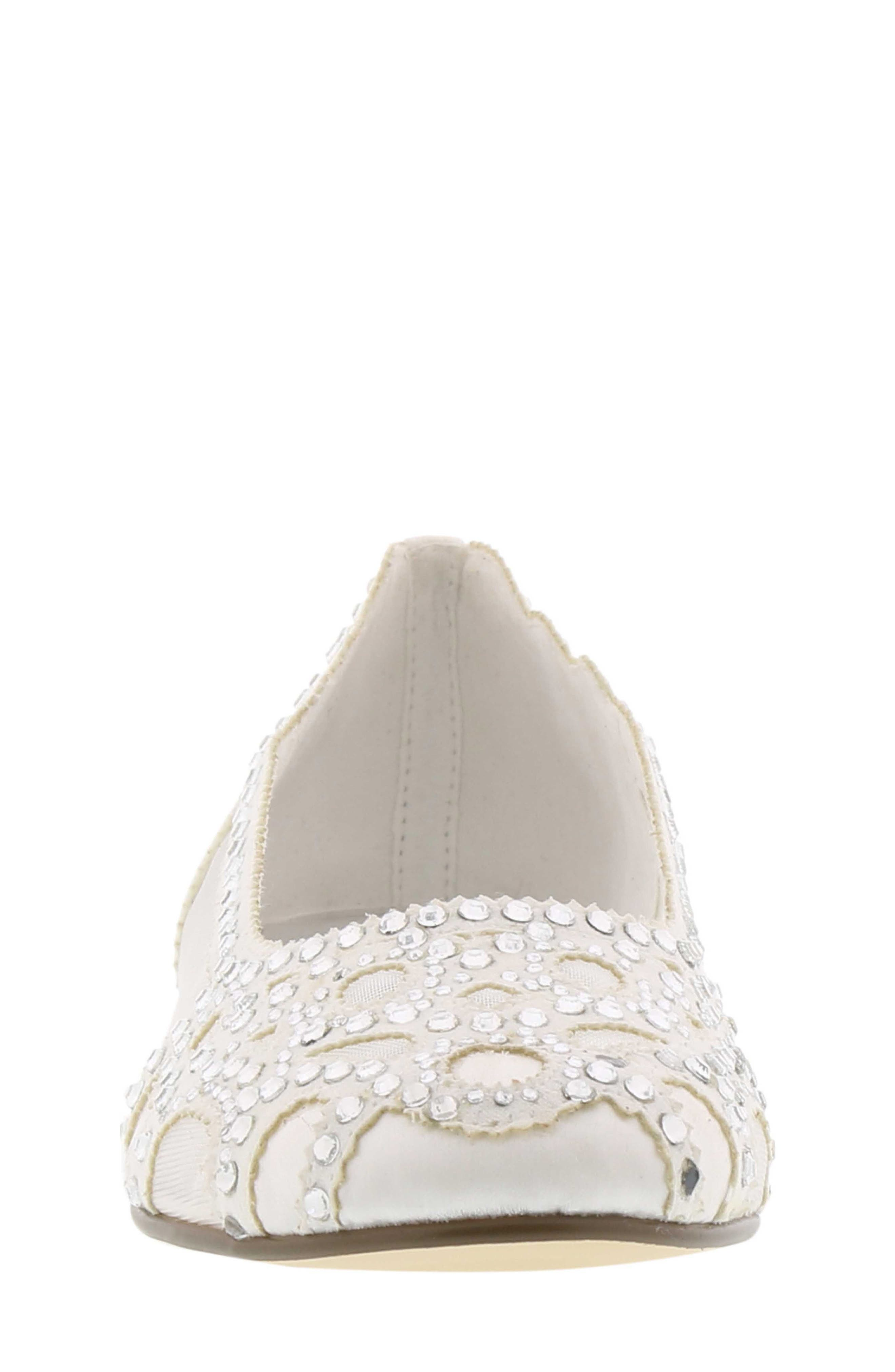 Gigi Embellished Flat,                             Alternate thumbnail 3, color,                             WHITE