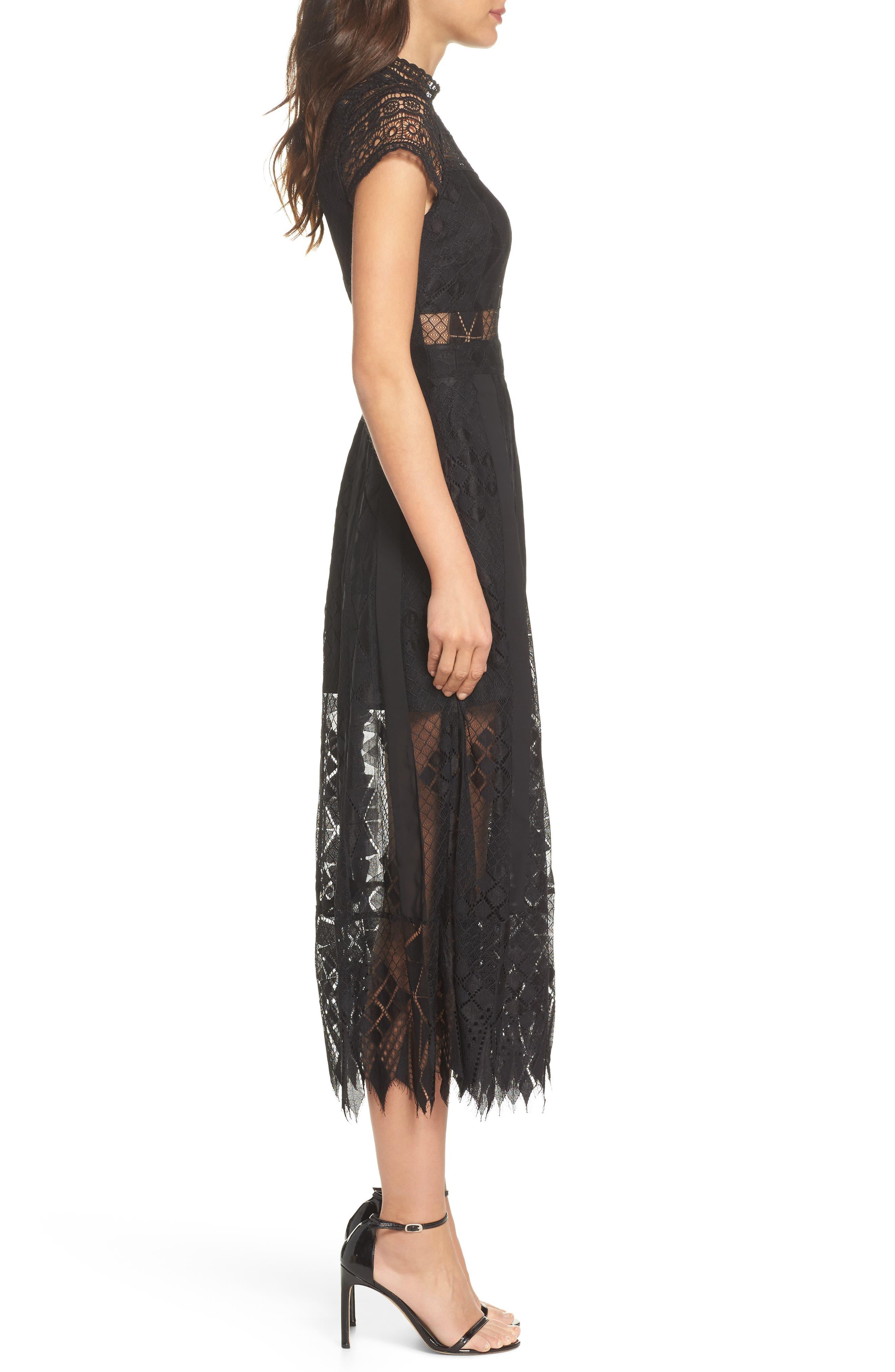 Calla Lace Midi Dress,                             Alternate thumbnail 3, color,                             001