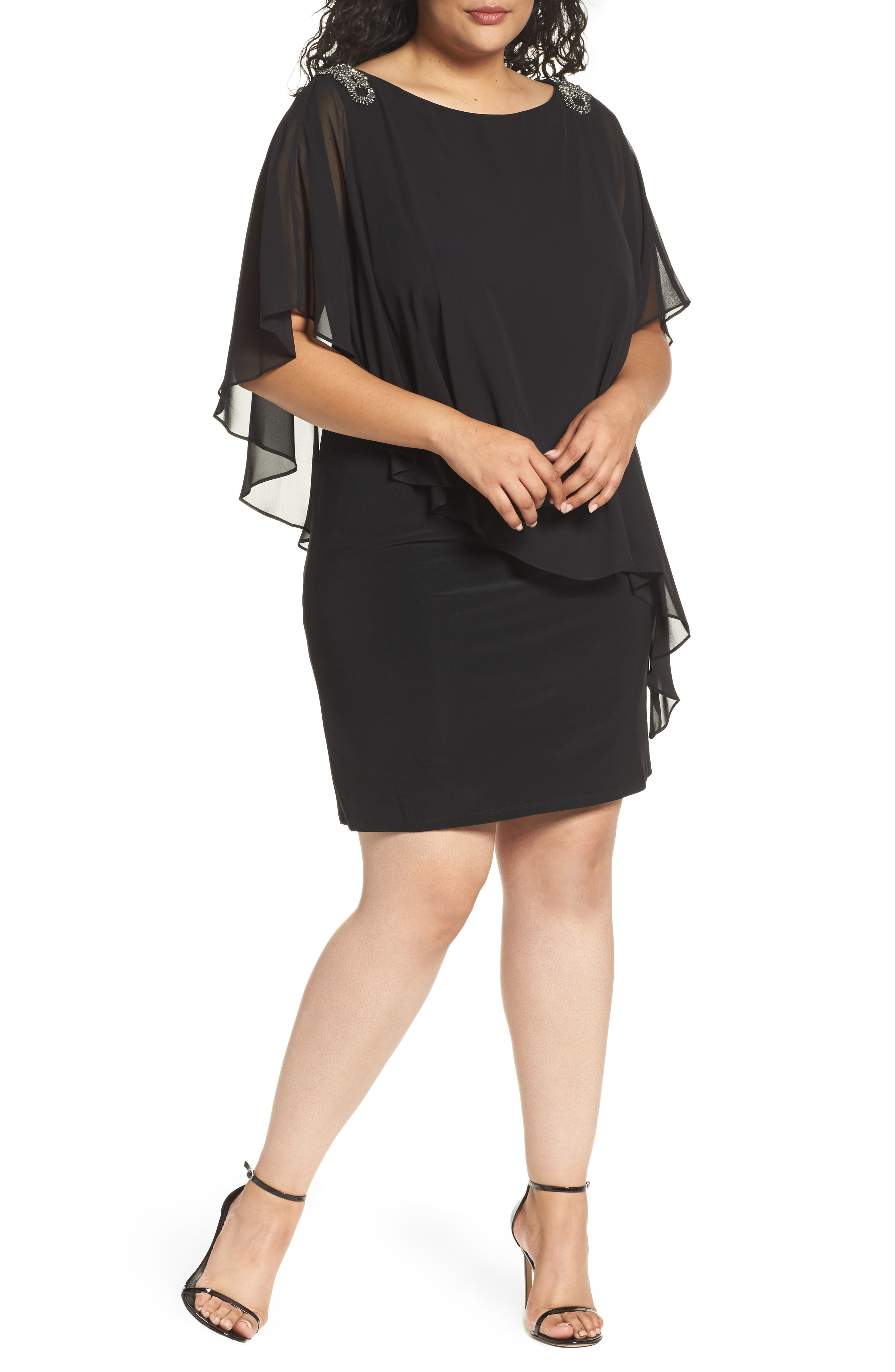 Embellished Chiffon Overlay Jersey Dress,                             Alternate thumbnail 3, color,