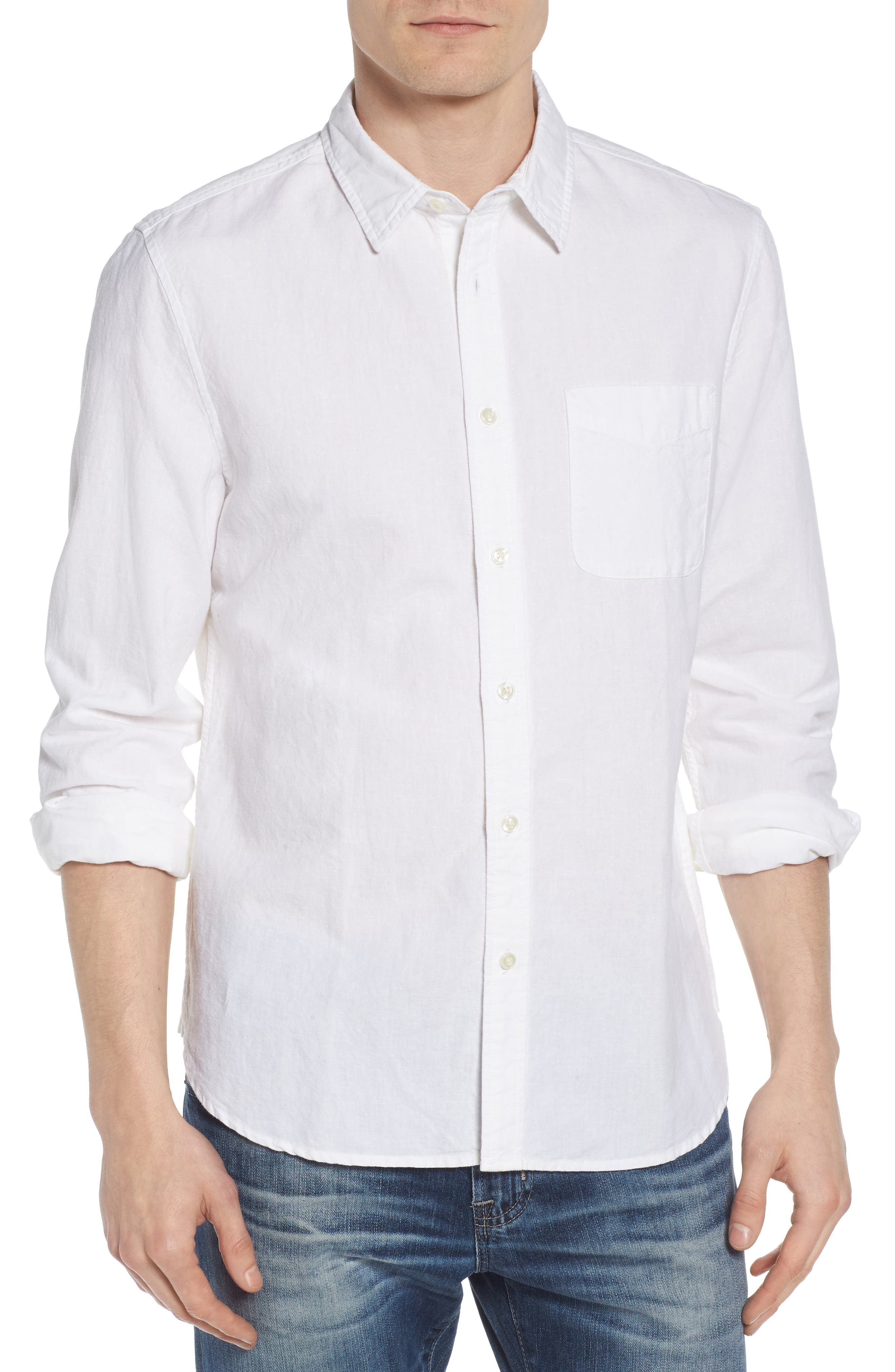Colton Regular Fit Cotton & Linen Sport Shirt,                         Main,                         color, TRUE WHITE