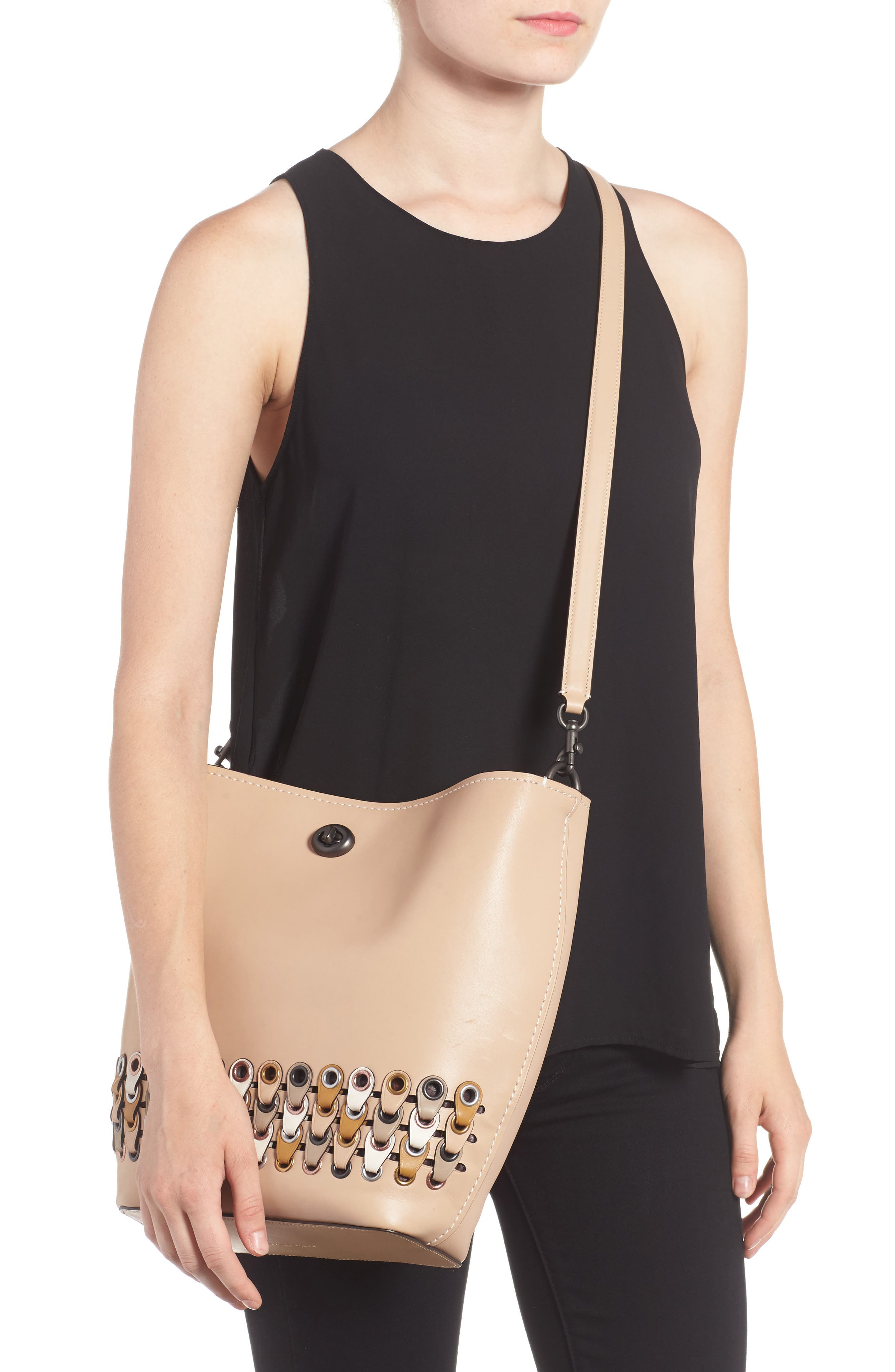 Linked Leather Tote,                             Alternate thumbnail 2, color,                             249