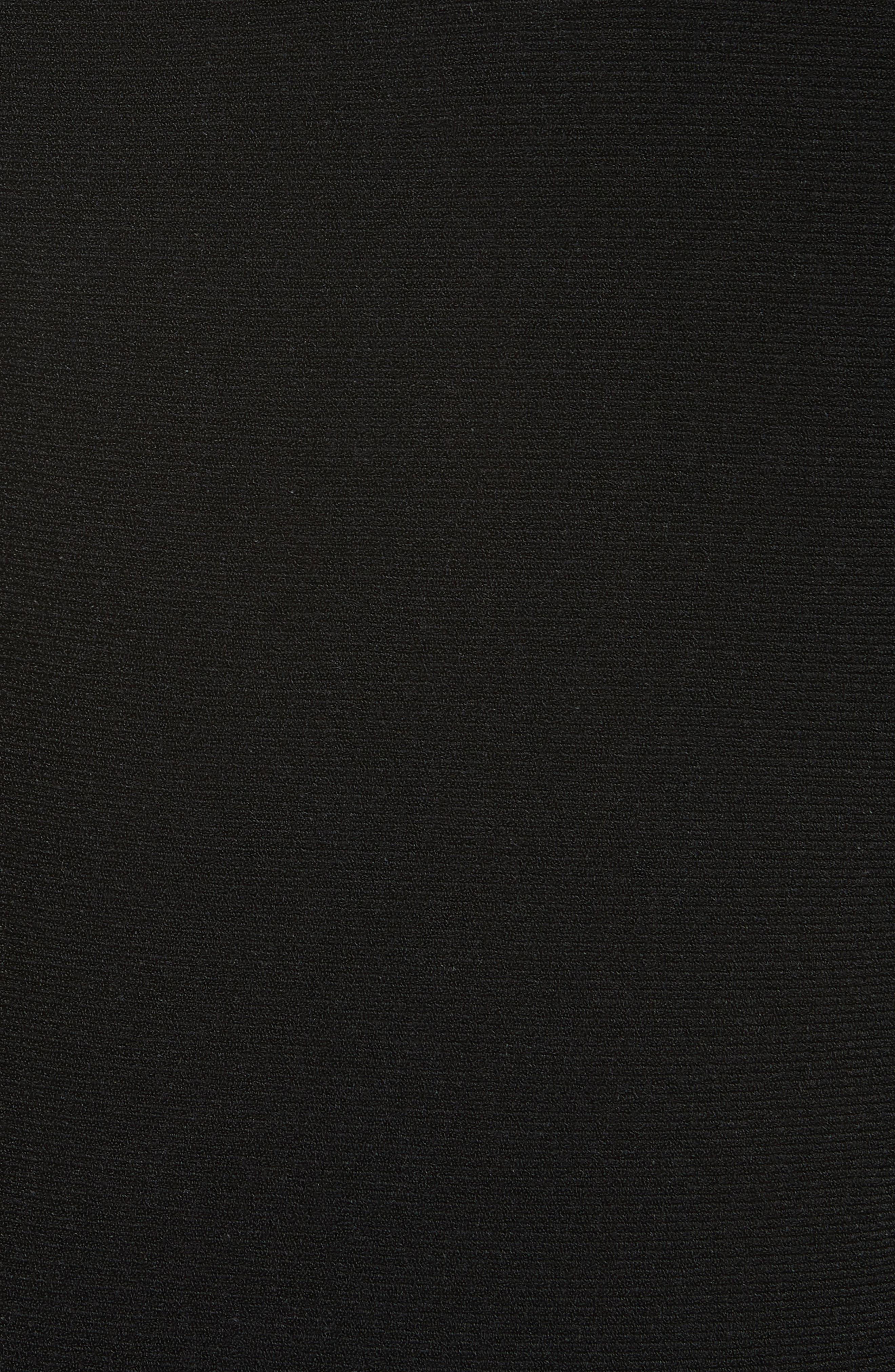 Metallic Pleat Fit & Flare Dress,                             Alternate thumbnail 5, color,                             BLACK/ SILVER