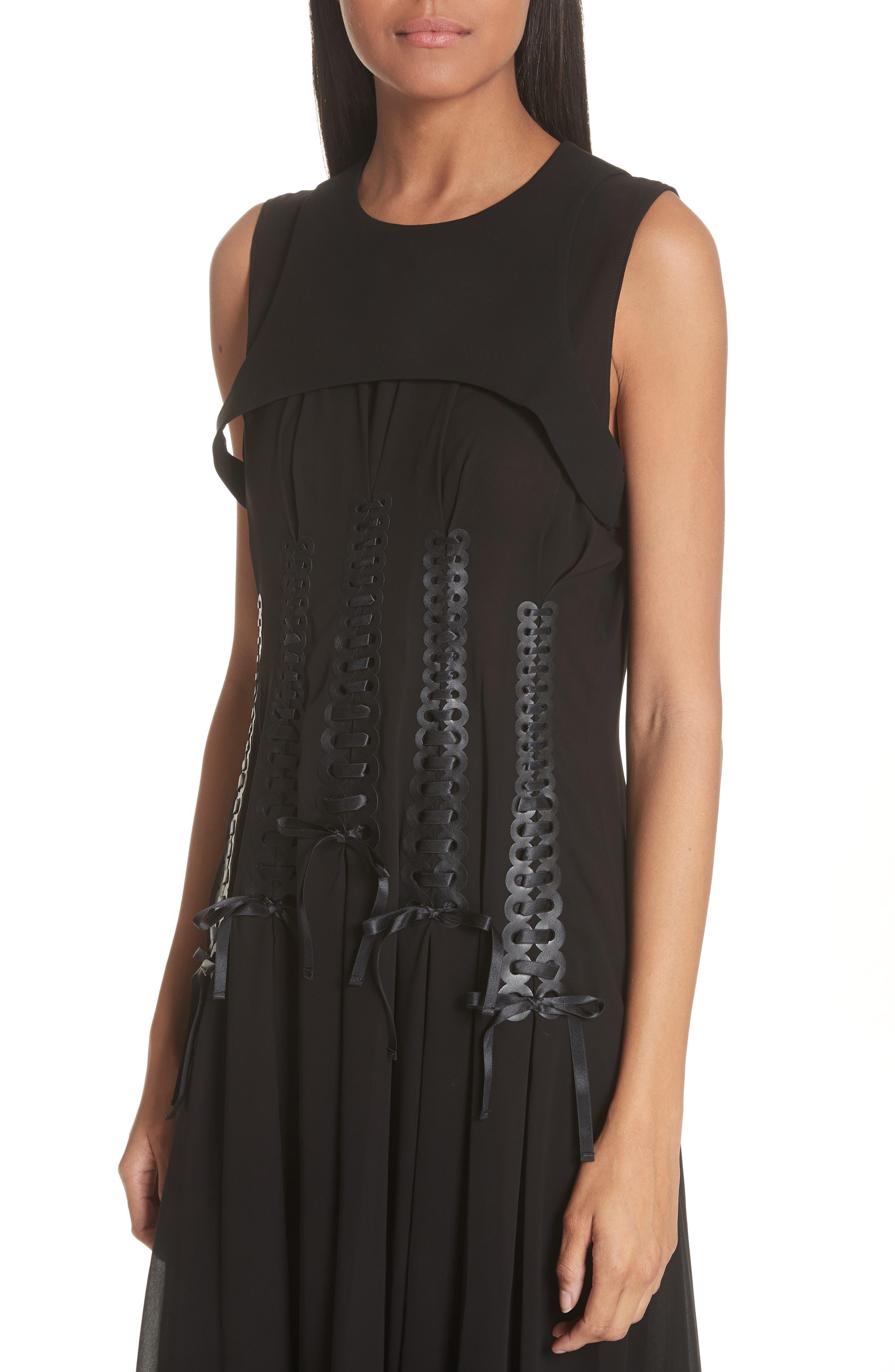 Ribbon Bodice Dress,                             Alternate thumbnail 4, color,                             001