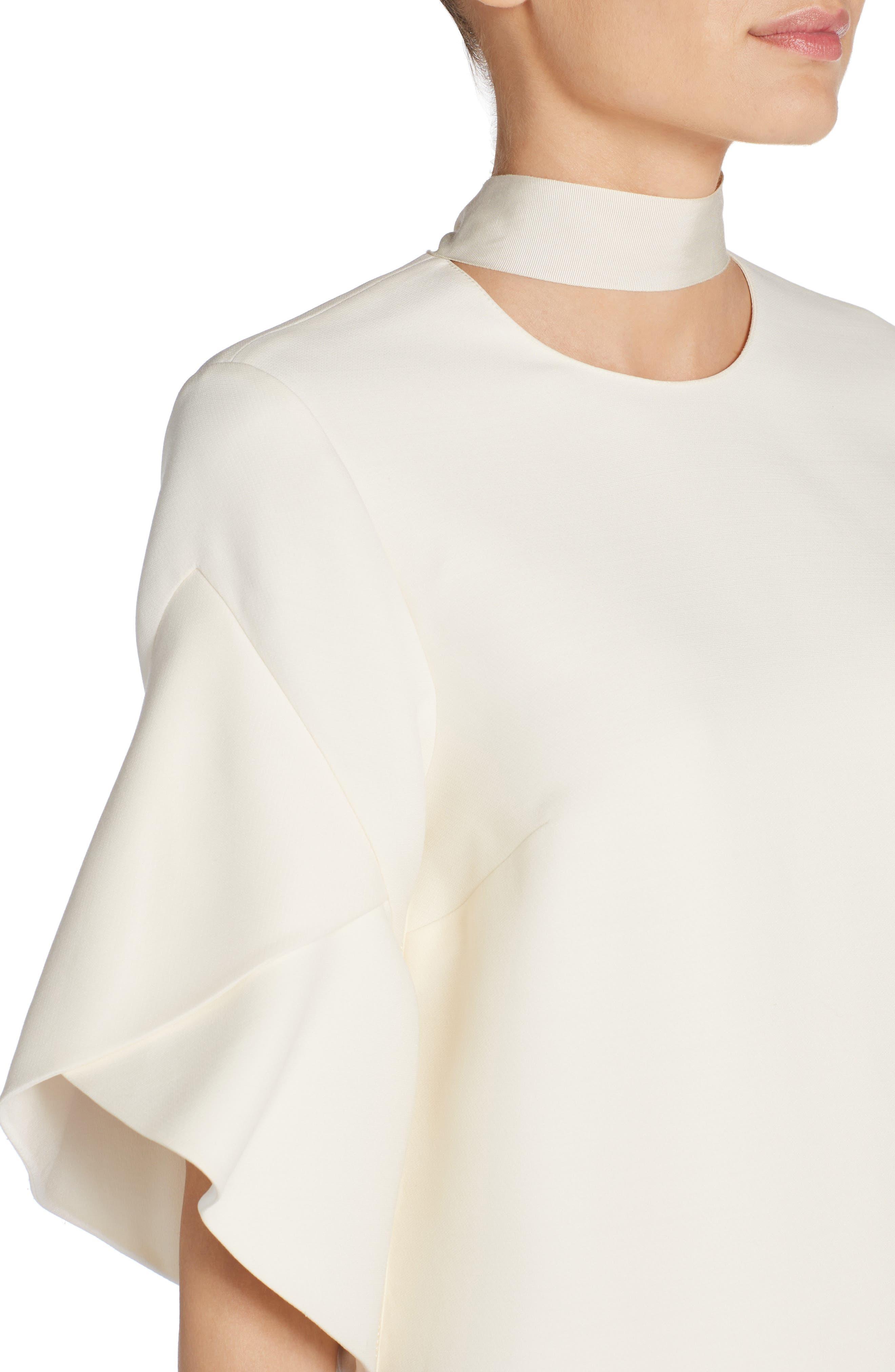 Wool & Silk Gazar Shift Dress,                             Alternate thumbnail 4, color,