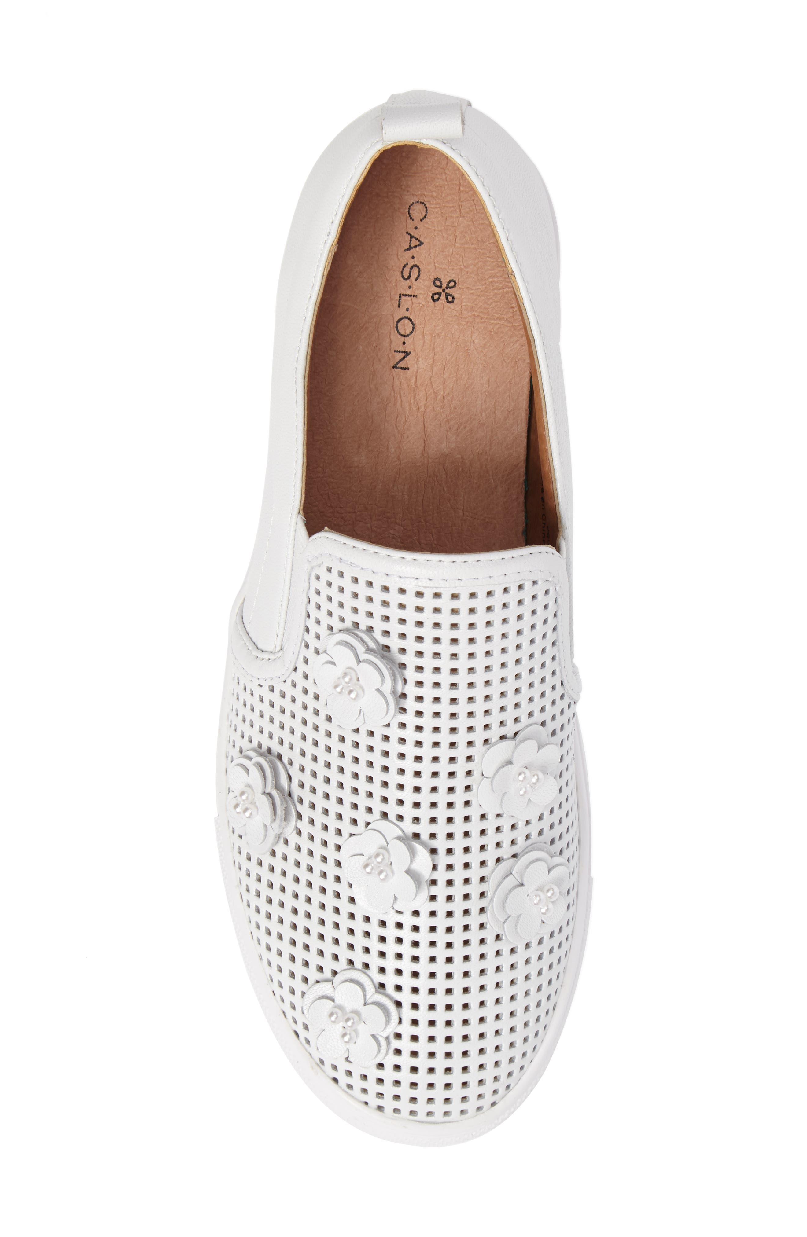 Eden Perforated Slip-On Sneaker,                             Alternate thumbnail 5, color,                             100