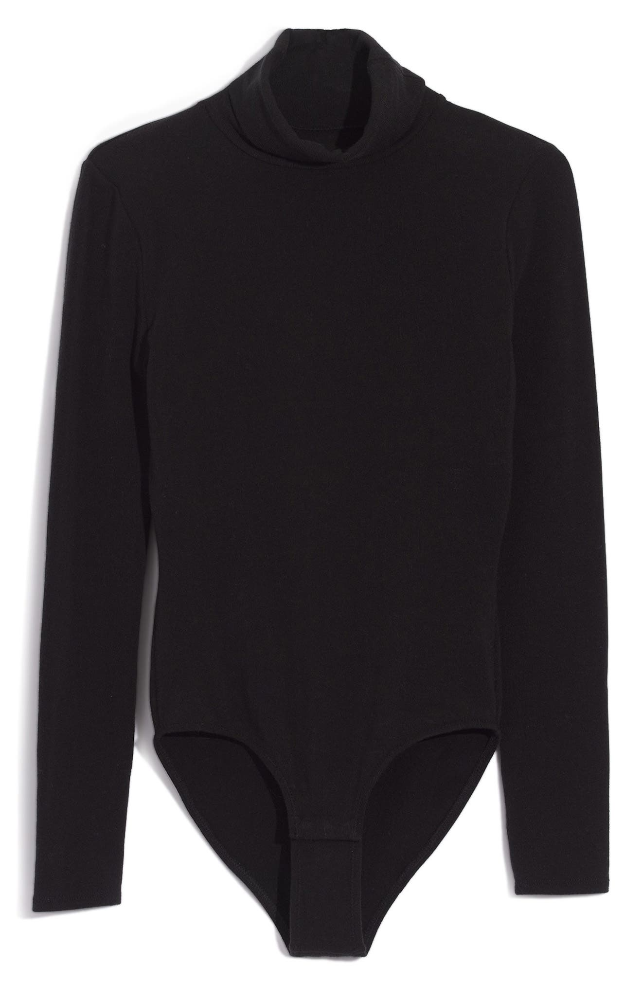 Renay Turtleneck Bodysuit,                             Alternate thumbnail 4, color,                             TRUE BLACK