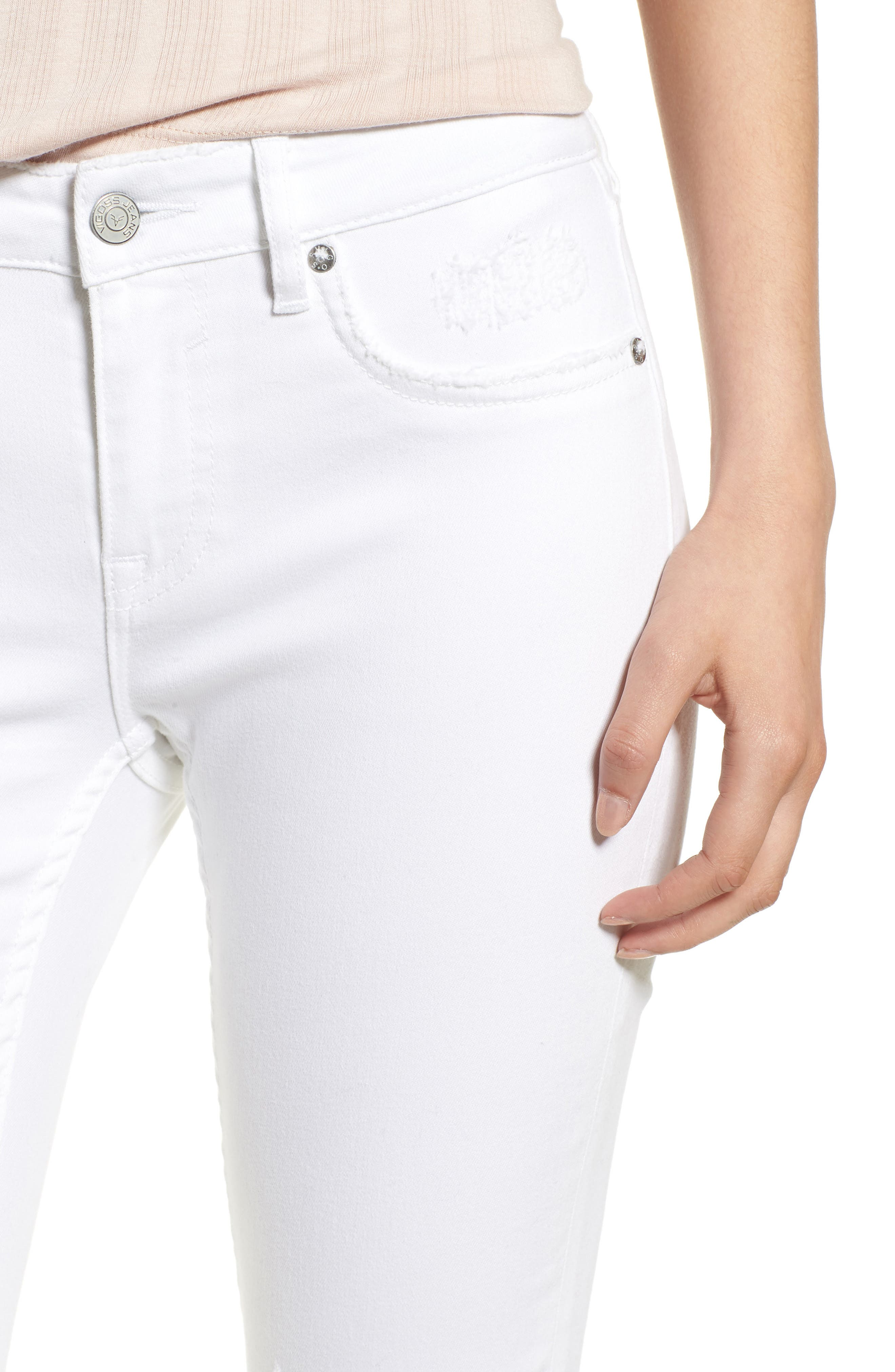 Thompson Tomboy Distressed Cuffed Crop Skinny Jeans,                             Alternate thumbnail 4, color,