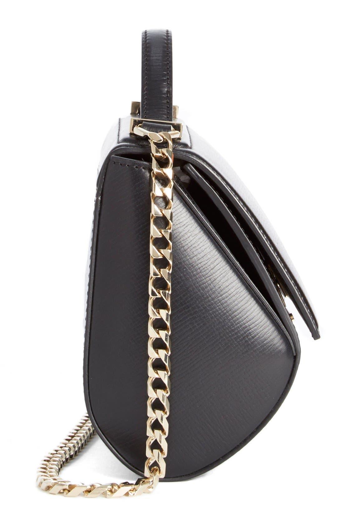 'Mini Pandora Box - Palma' Leather Shoulder Bag,                             Alternate thumbnail 3, color,                             001 BLACK