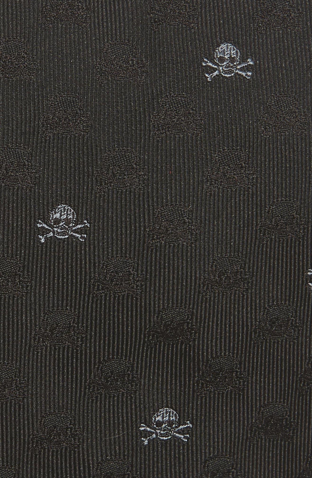 Skull & Crossbones Silk Tie,                             Alternate thumbnail 2, color,                             BLACK
