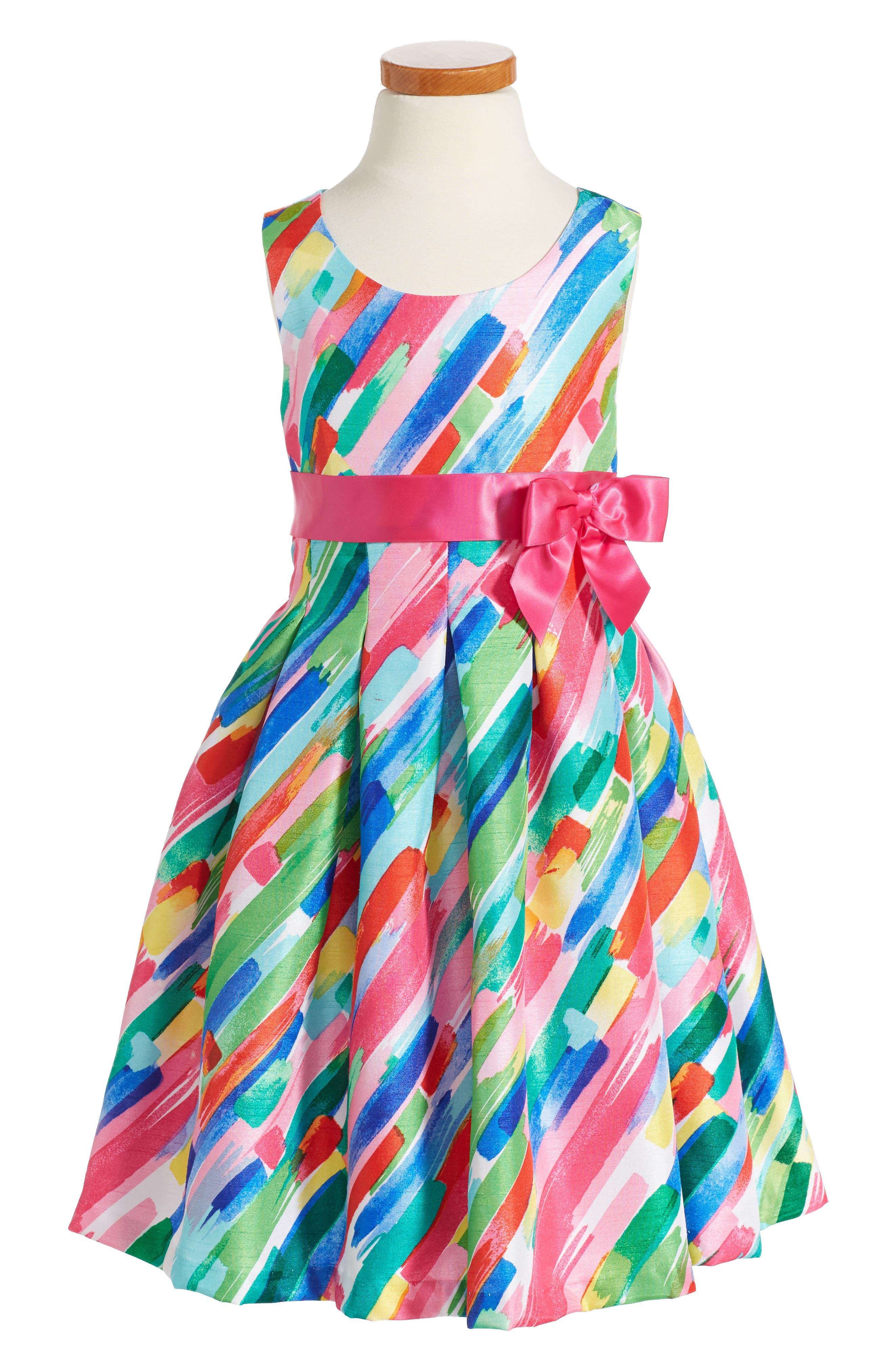 Paintstroke Print Shantung Party Dress,                         Main,                         color, 670