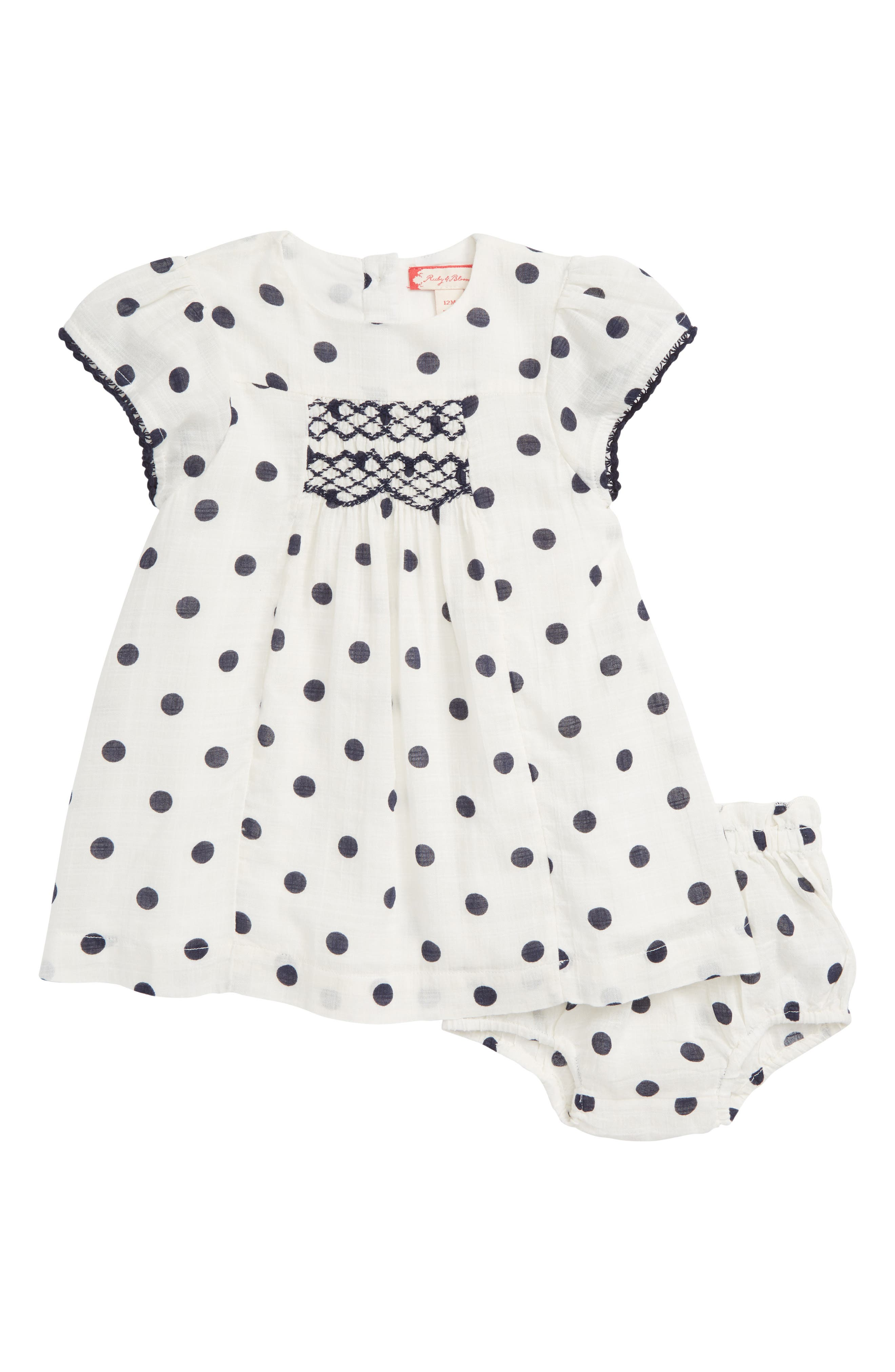 Embroidered Dot Dress,                         Main,                         color, IVORY EGRET- NAVY DOT