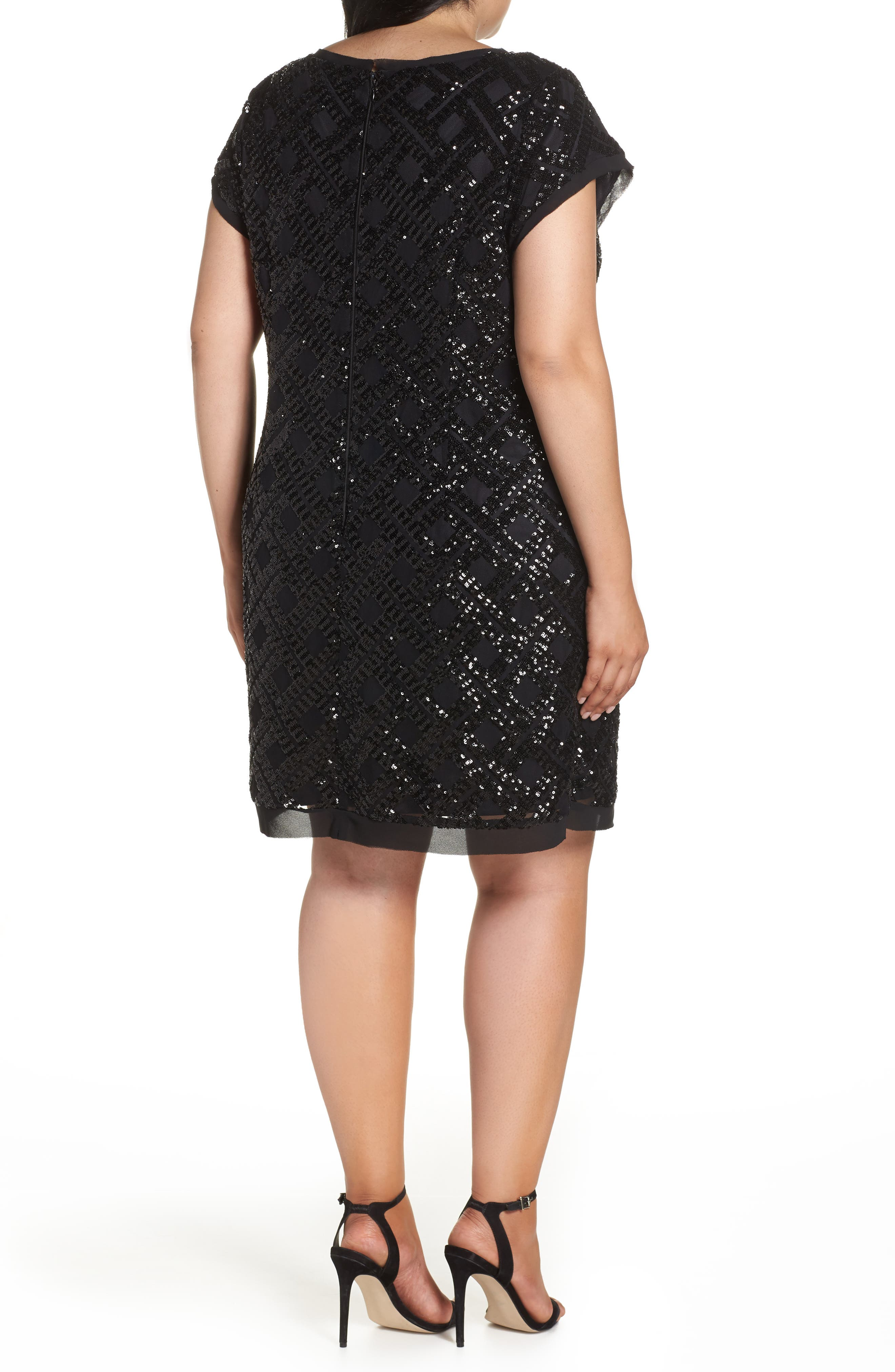 Sequin Sheath Dress,                             Alternate thumbnail 2, color,                             001