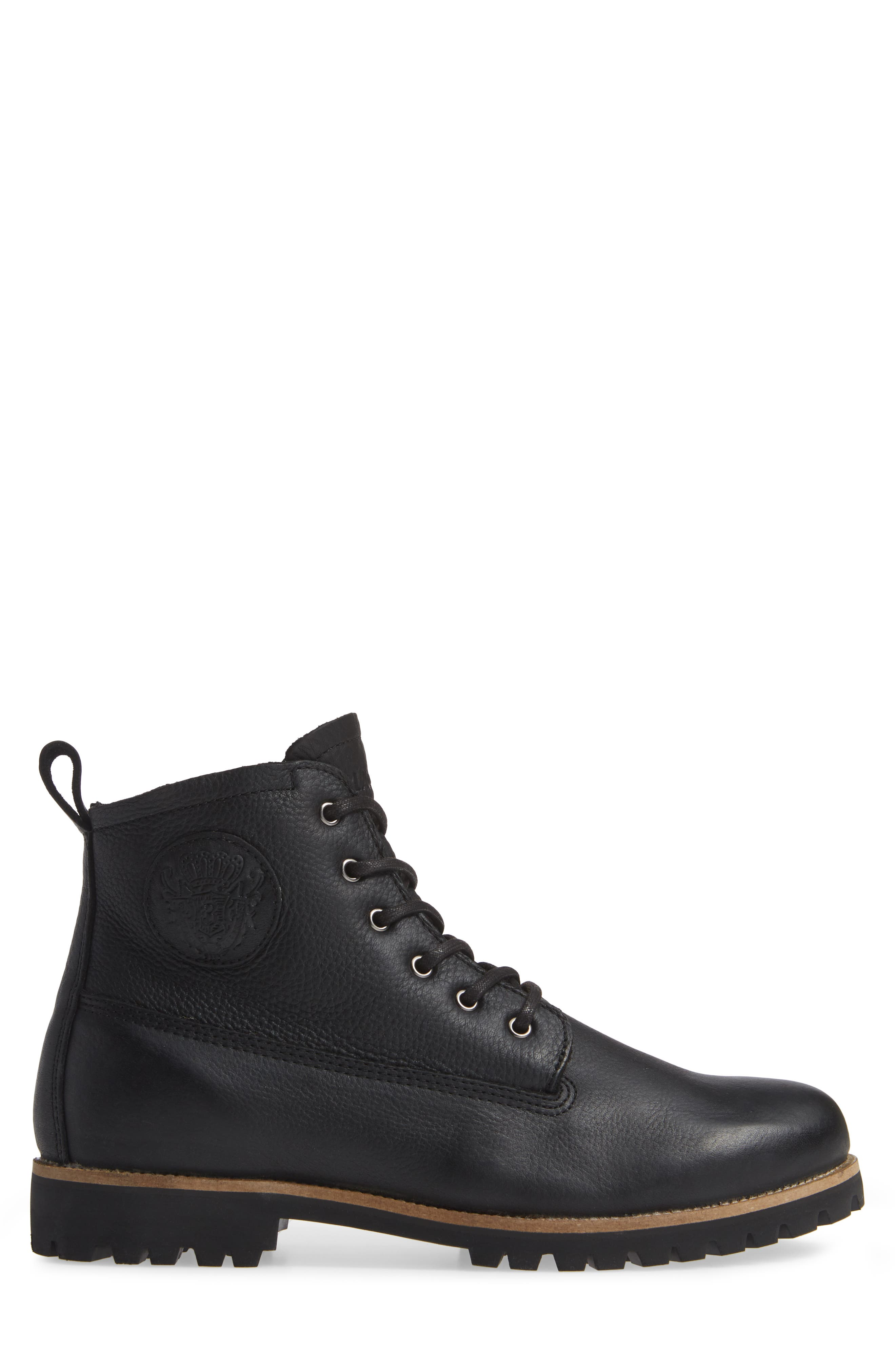 OM60 Waterproof Genuine Shearling Boot,                             Alternate thumbnail 3, color,                             BLACK