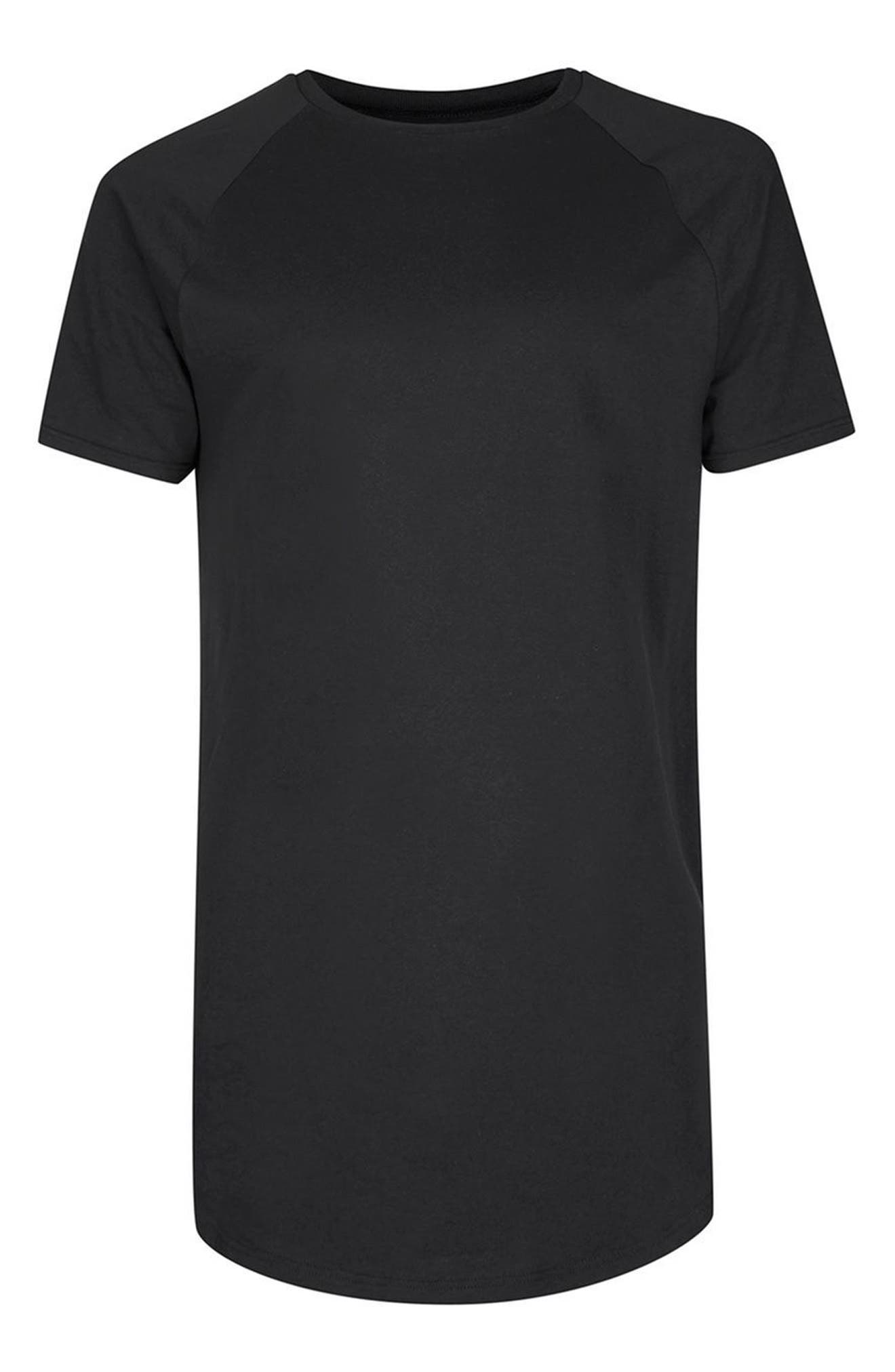 Longline T-Shirt with Side Zips,                             Alternate thumbnail 4, color,                             001