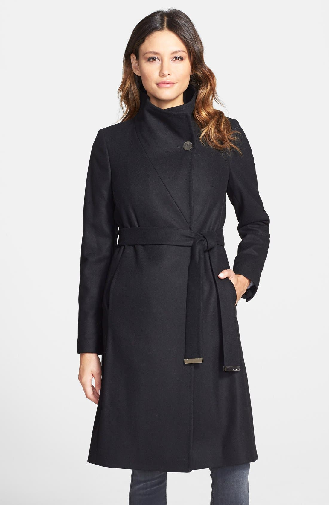 'Nevia' Stand Collar Belted Wrap Coat,                             Main thumbnail 1, color,                             001