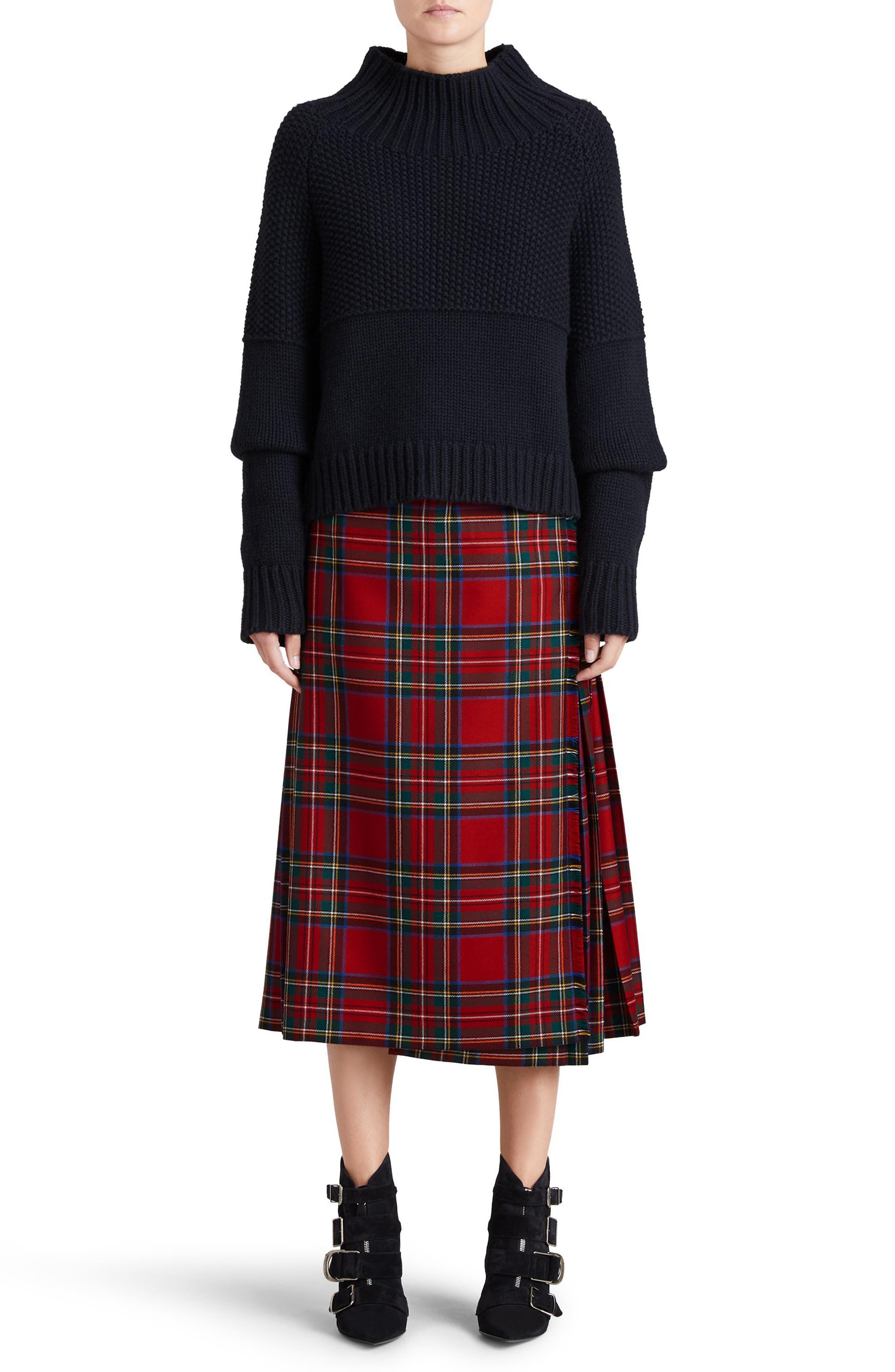 Taybridge Pleated Plaid Wool Midi Skirt,                             Alternate thumbnail 5, color,                             622