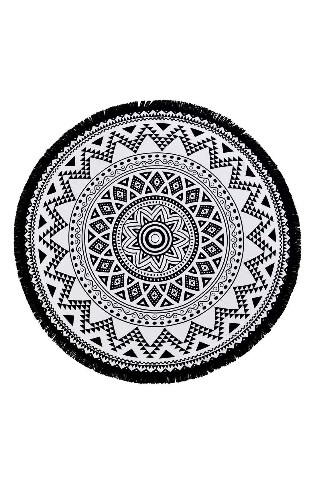 'Kilim' Turkish Pestemal Round Beach Towel,                             Main thumbnail 1, color,                             BLACK/ WHITE