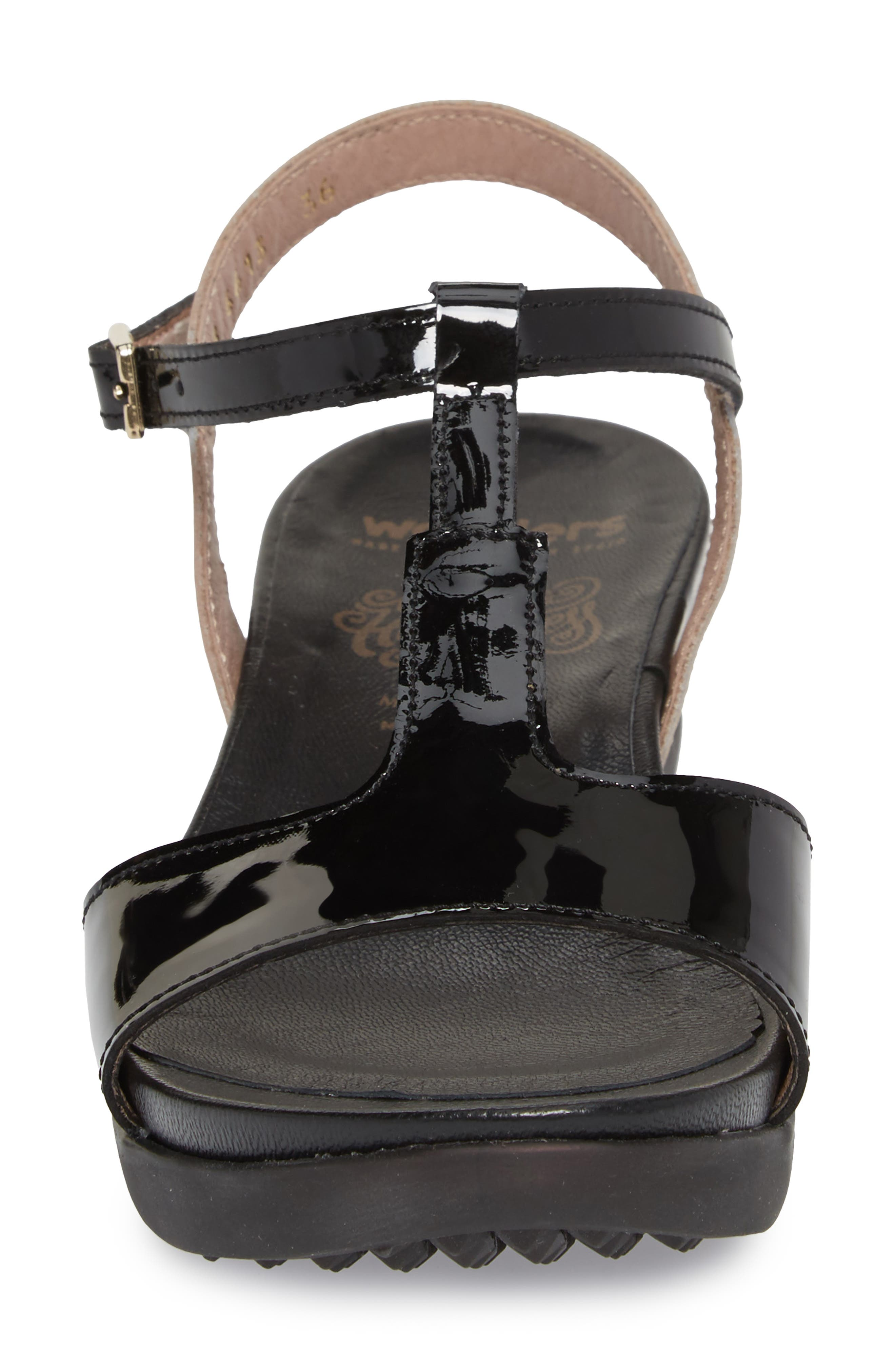 Wedge Sandal,                             Alternate thumbnail 4, color,                             BLACK/ TAUPE LEATHER