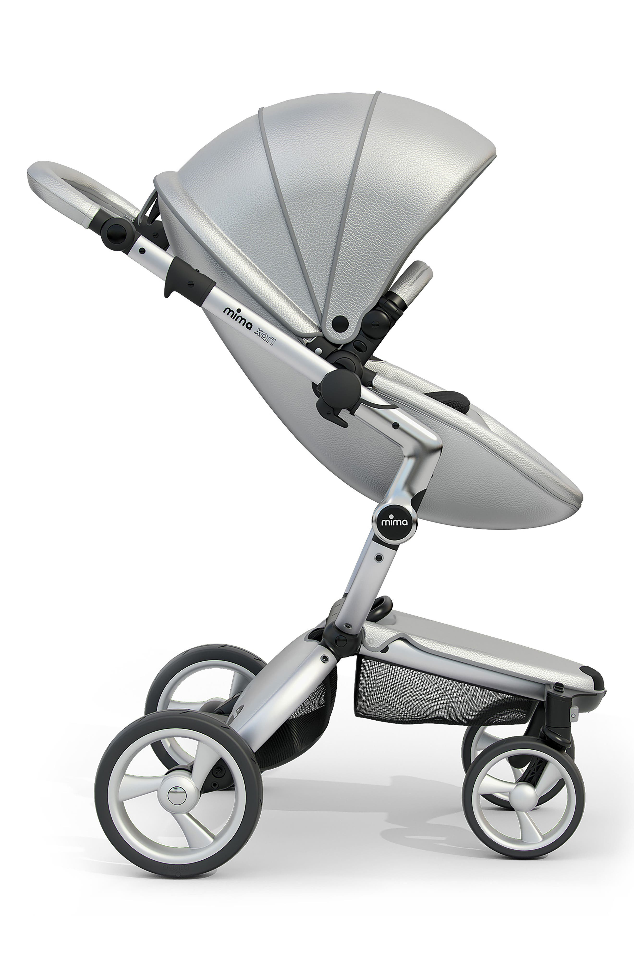 Xari Aluminum Chassis Stroller with Reversible Reclining Seat & Carrycot,                             Alternate thumbnail 3, color,                             ARGENTO / BLACK