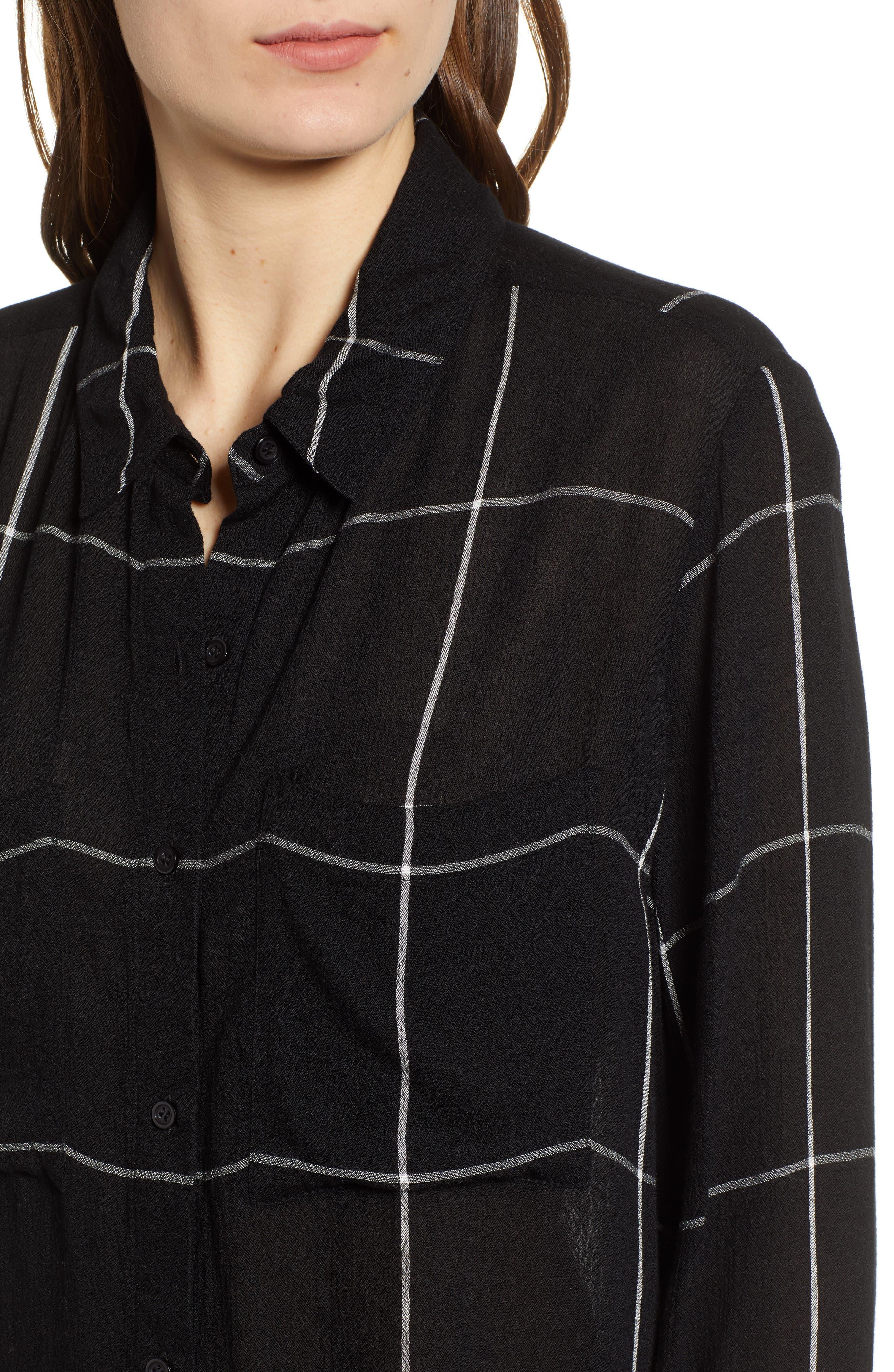 BP.,                             The Perfect Shirt,                             Alternate thumbnail 4, color,                             BLACK MAZY WINDOW PANE
