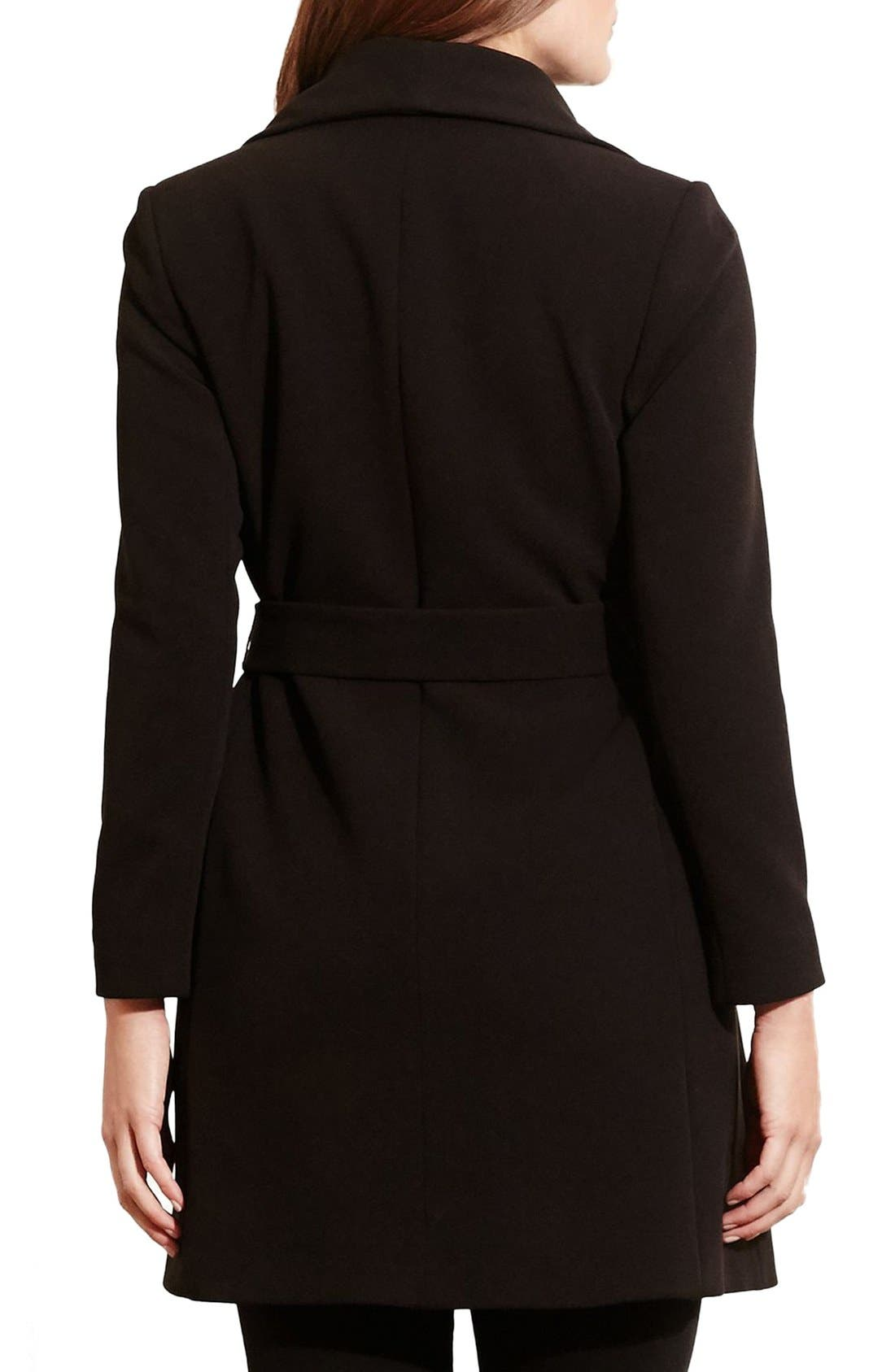 Belted Drape Front Coat,                             Alternate thumbnail 4, color,