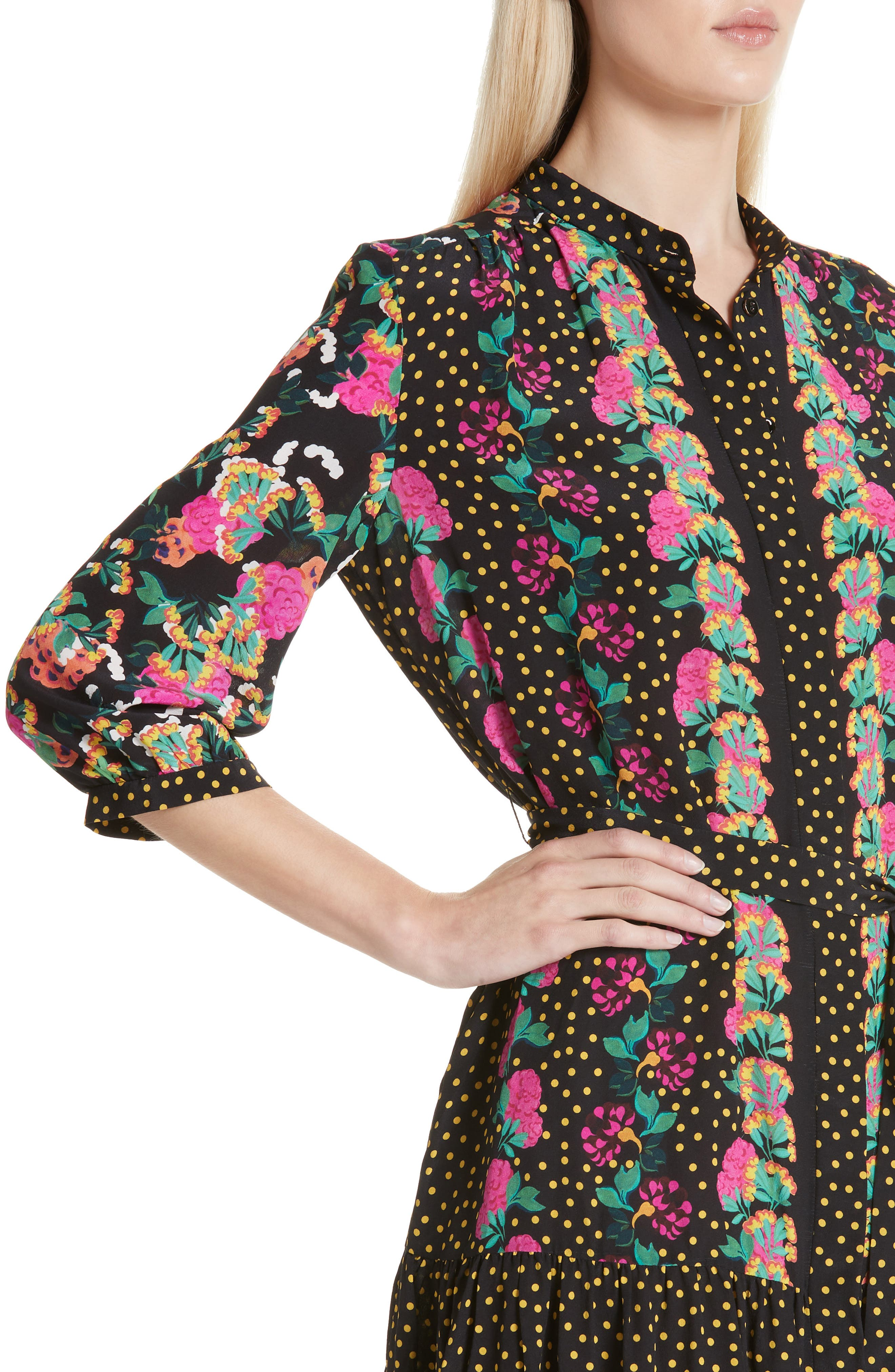 Tyra Print Silk Fit & Flare Dress,                             Alternate thumbnail 4, color,                             001