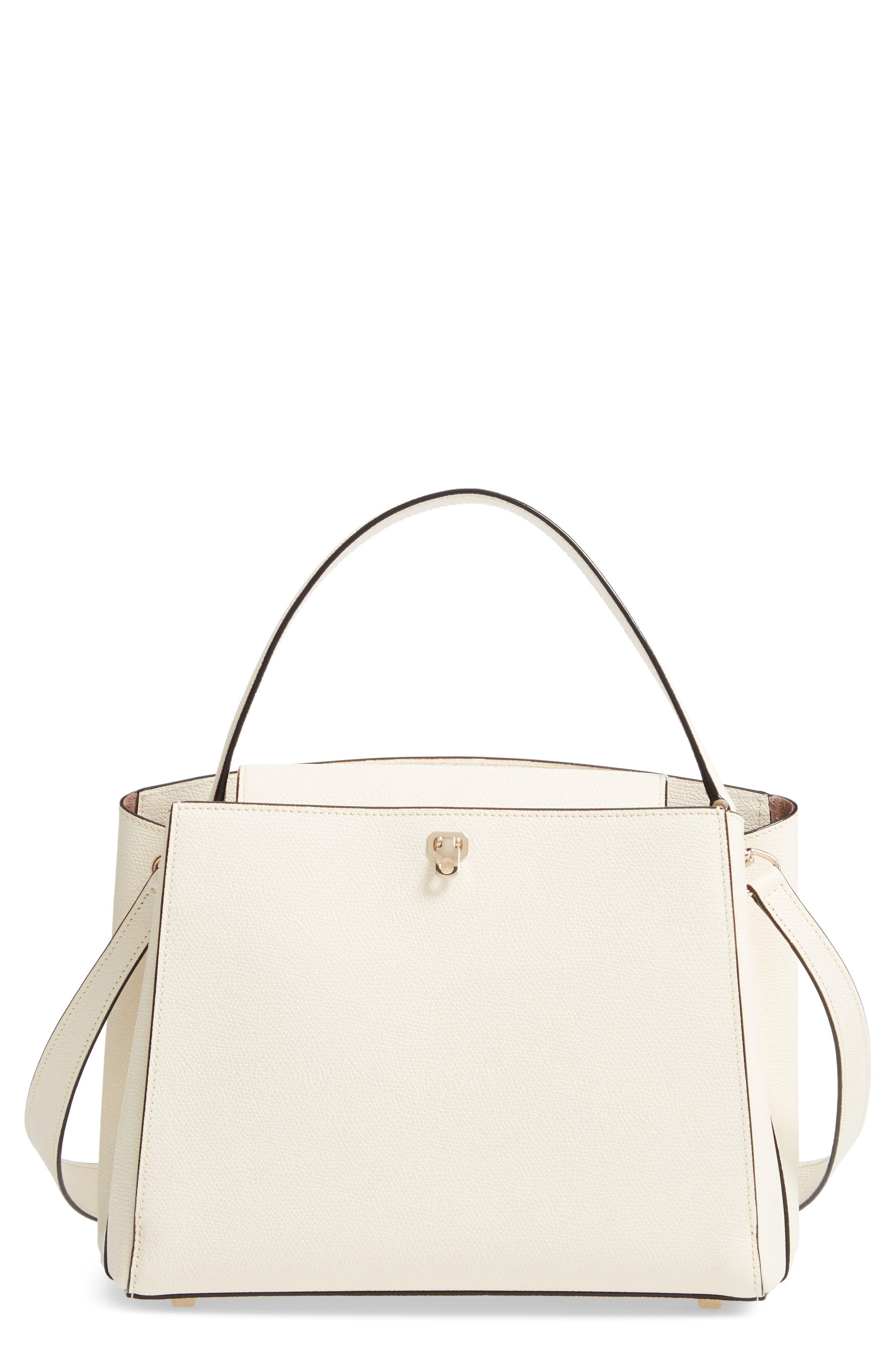 Medium Brera Leather Top Handle Bag - White