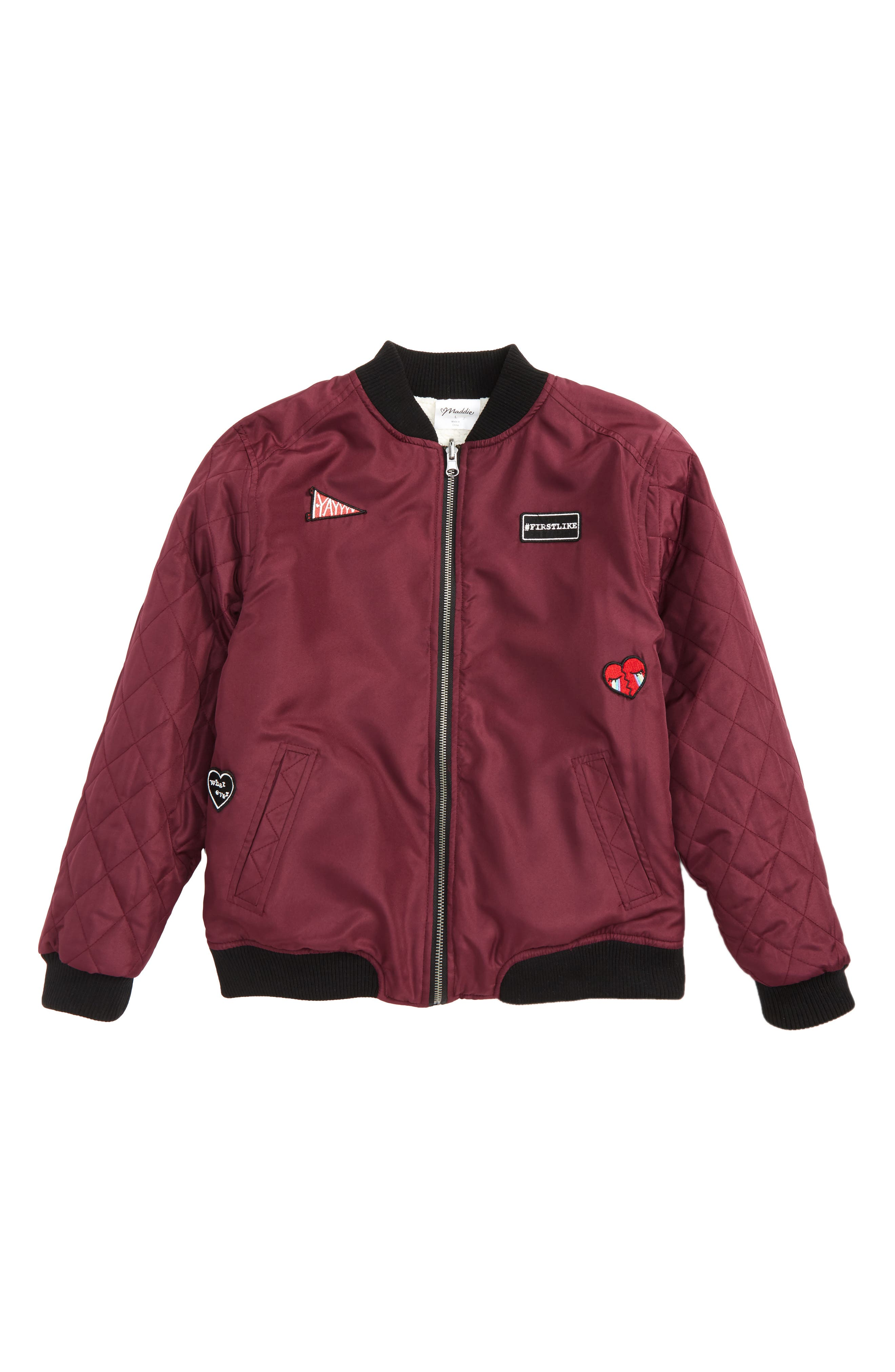 Patches & Faux Shearling Reversible Bomber Jacket,                             Main thumbnail 1, color,                             931