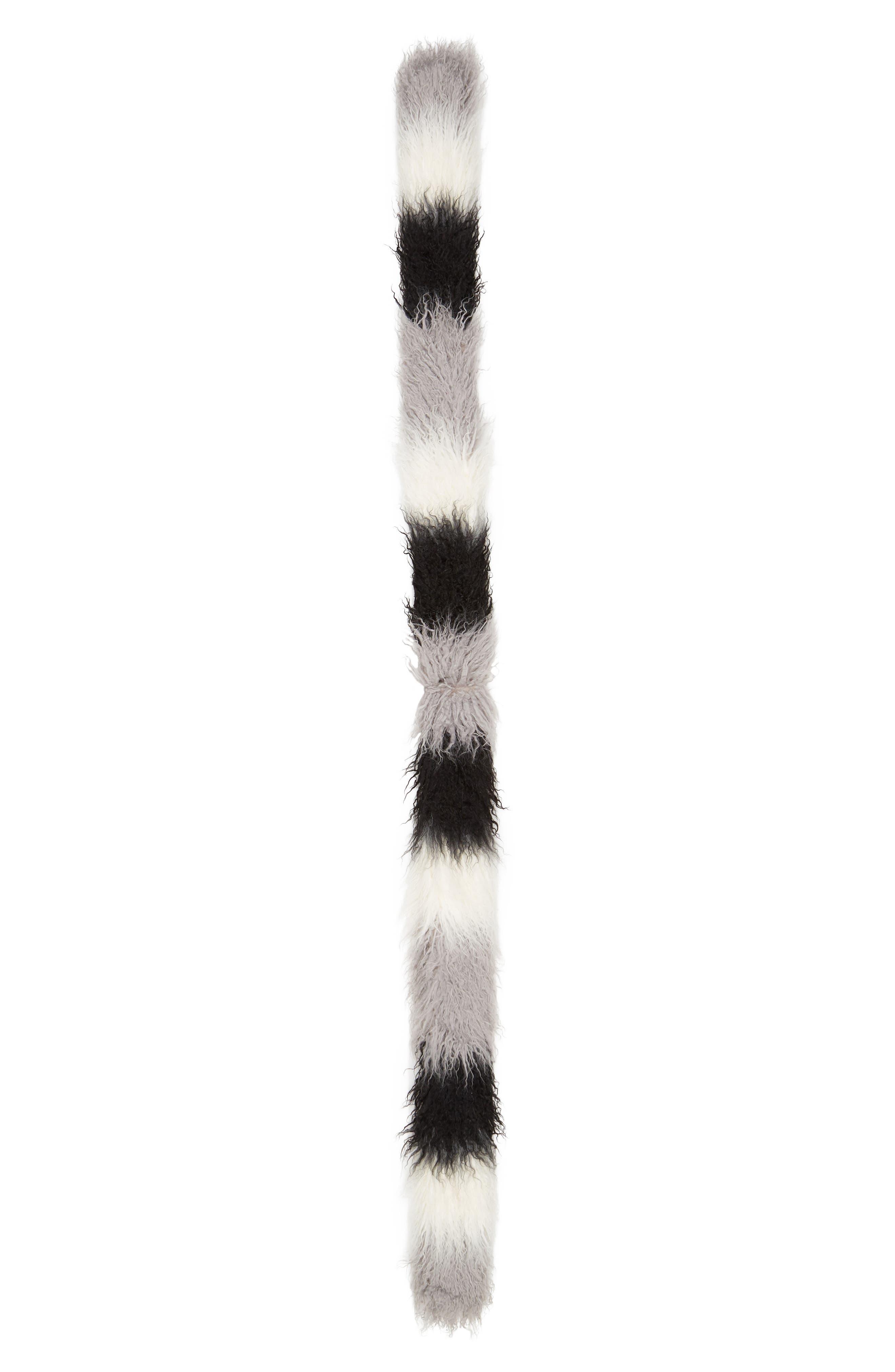 Long Faux Fur Scarf,                             Alternate thumbnail 3, color,                             BLACK COMBO