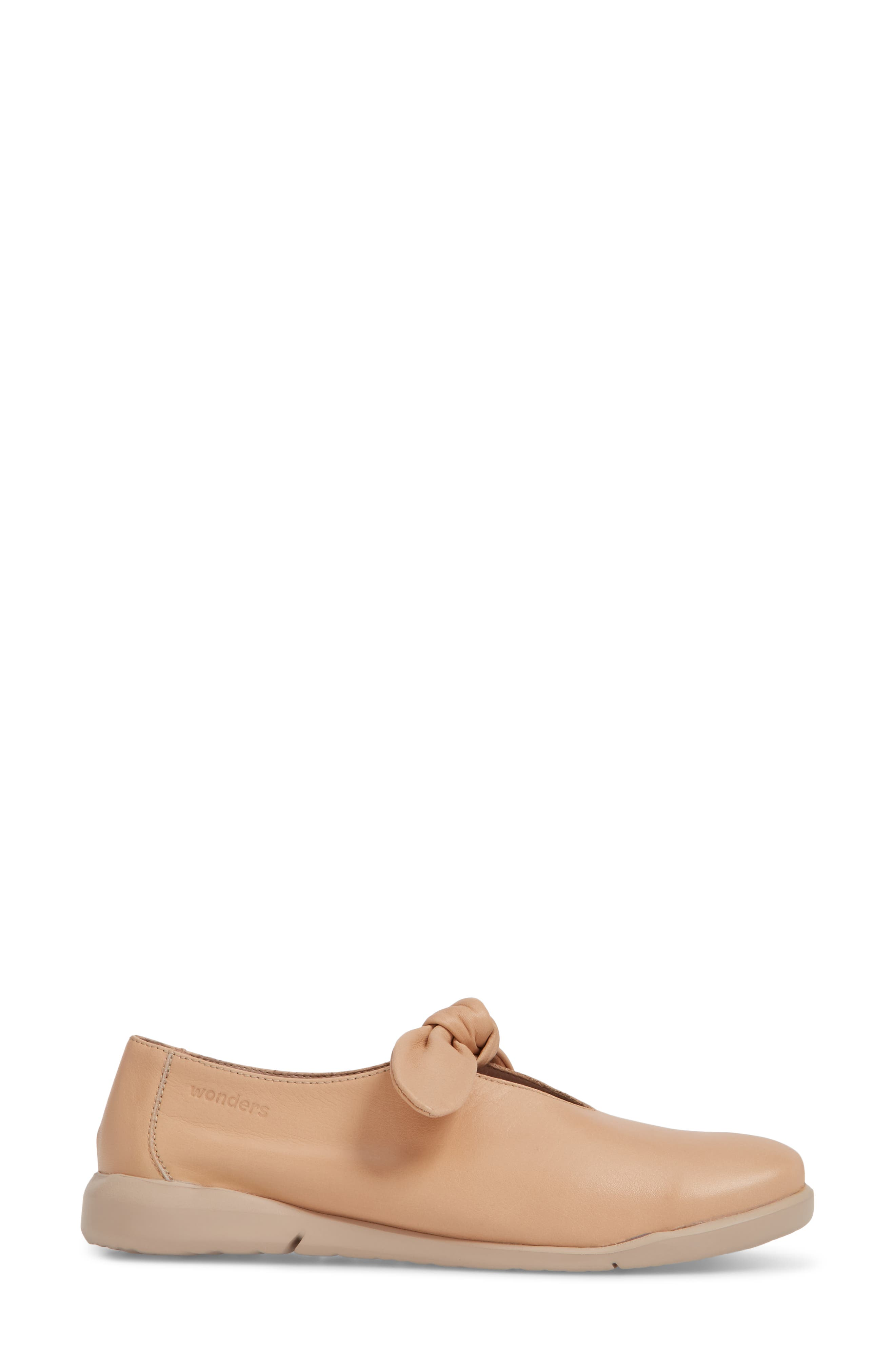 Knotted Mary Jane Flat,                             Alternate thumbnail 3, color,                             PALO BEIGE LEATHER
