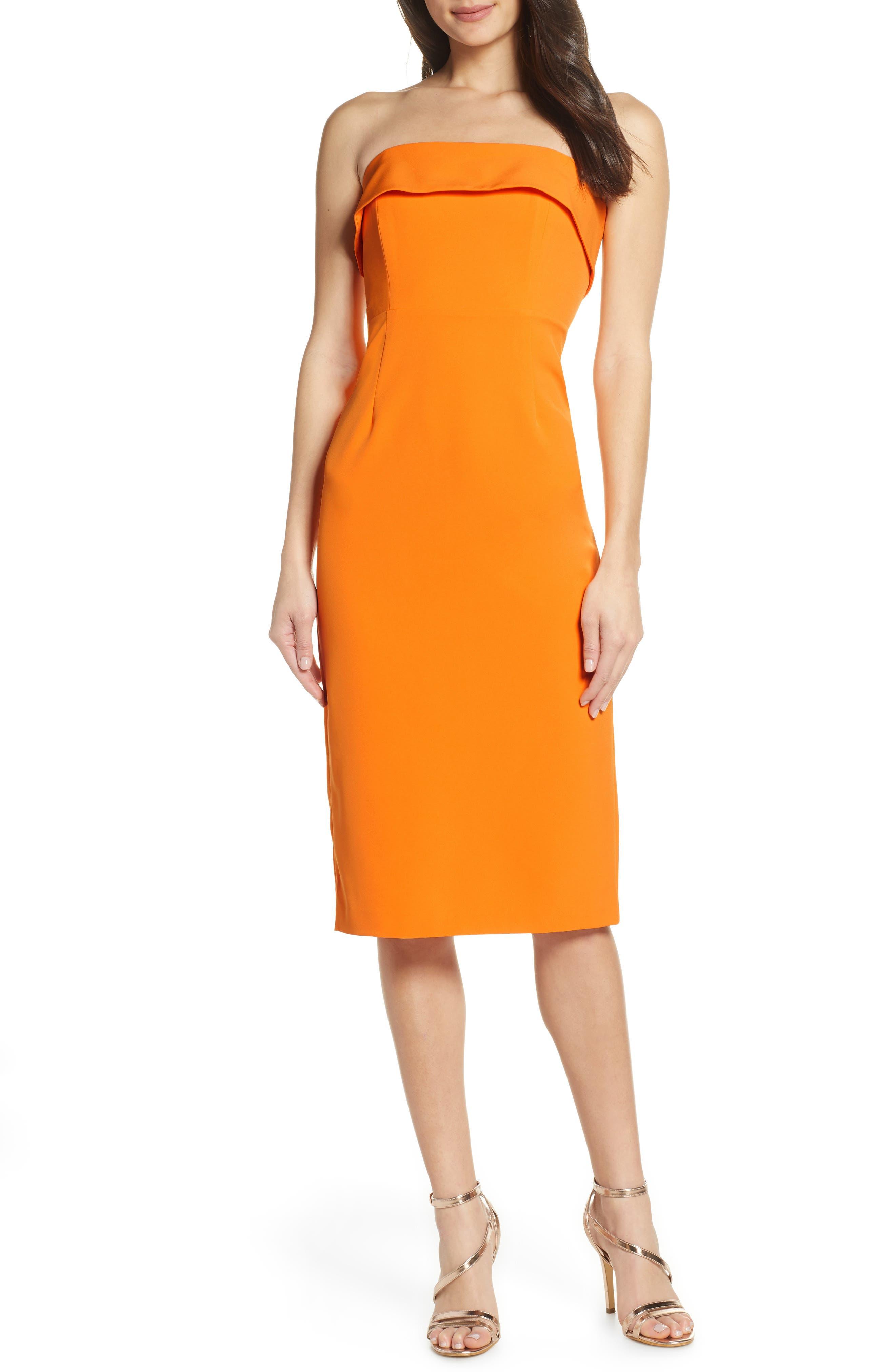 Bardot Georgia Strapless Dress, Orange