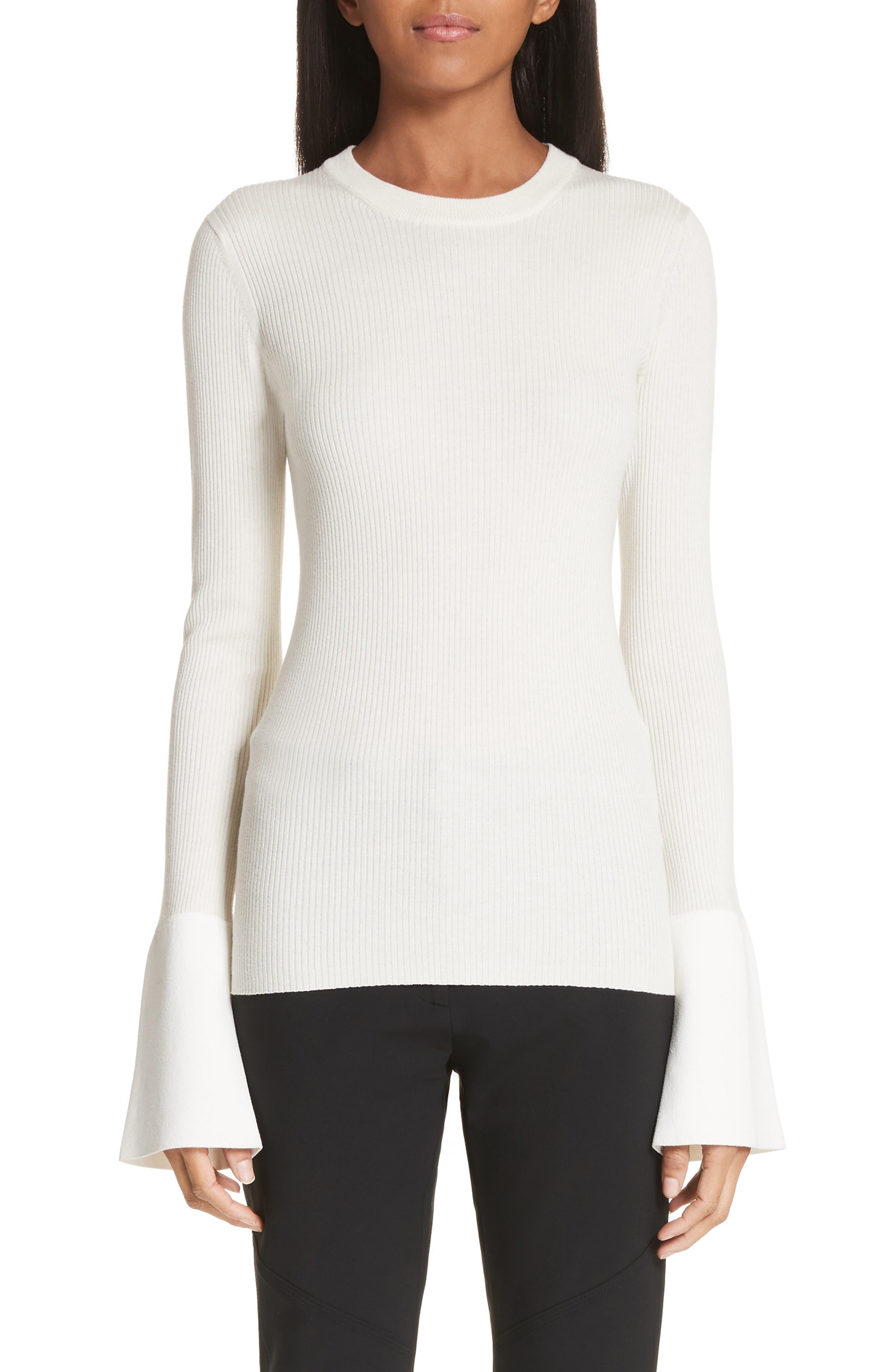Proenza Schouler Contrast Cuff Silk & Cashmere Blend Sweater