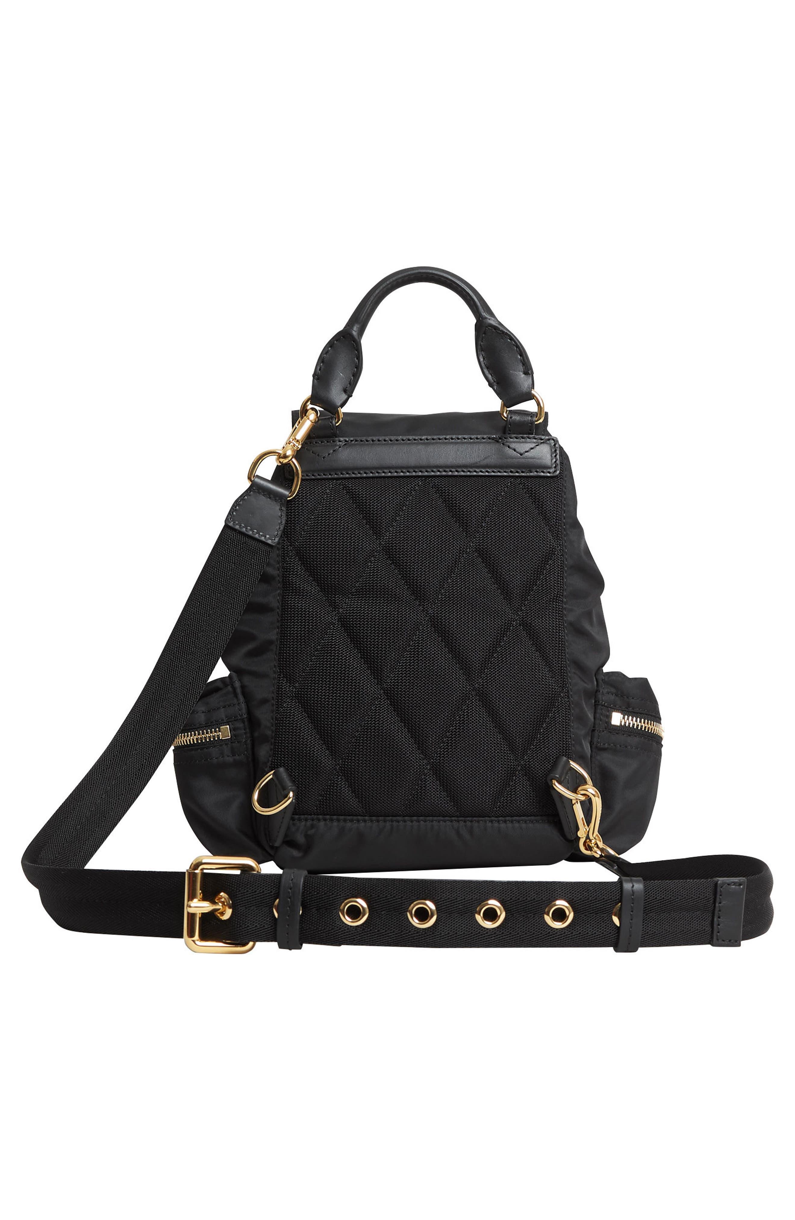 Small Rucksack Nylon Backpack,                             Alternate thumbnail 3, color,                             BLACK