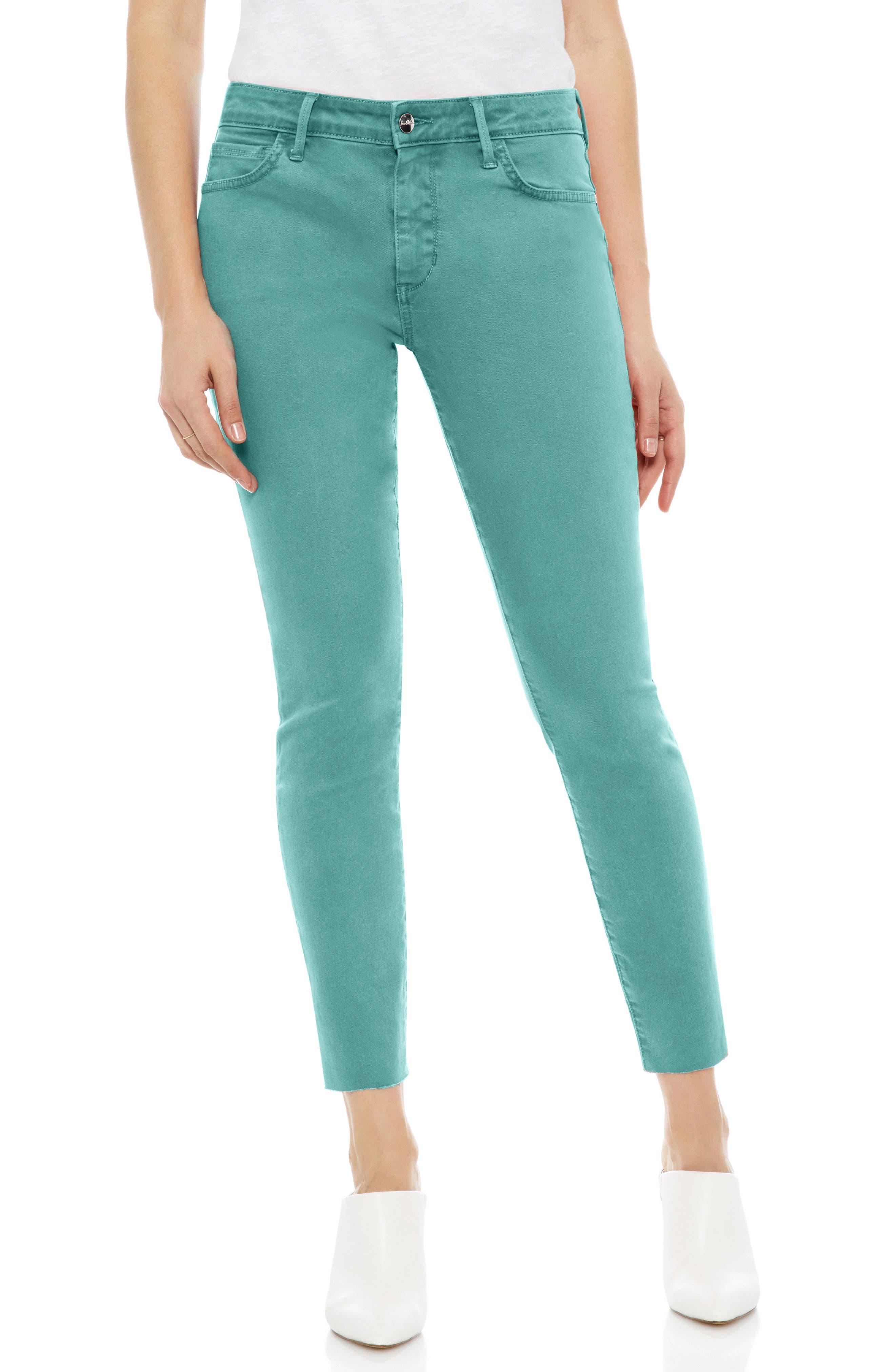 The Kitten Raw Hem Skinny Jeans,                         Main,                         color, TEAL