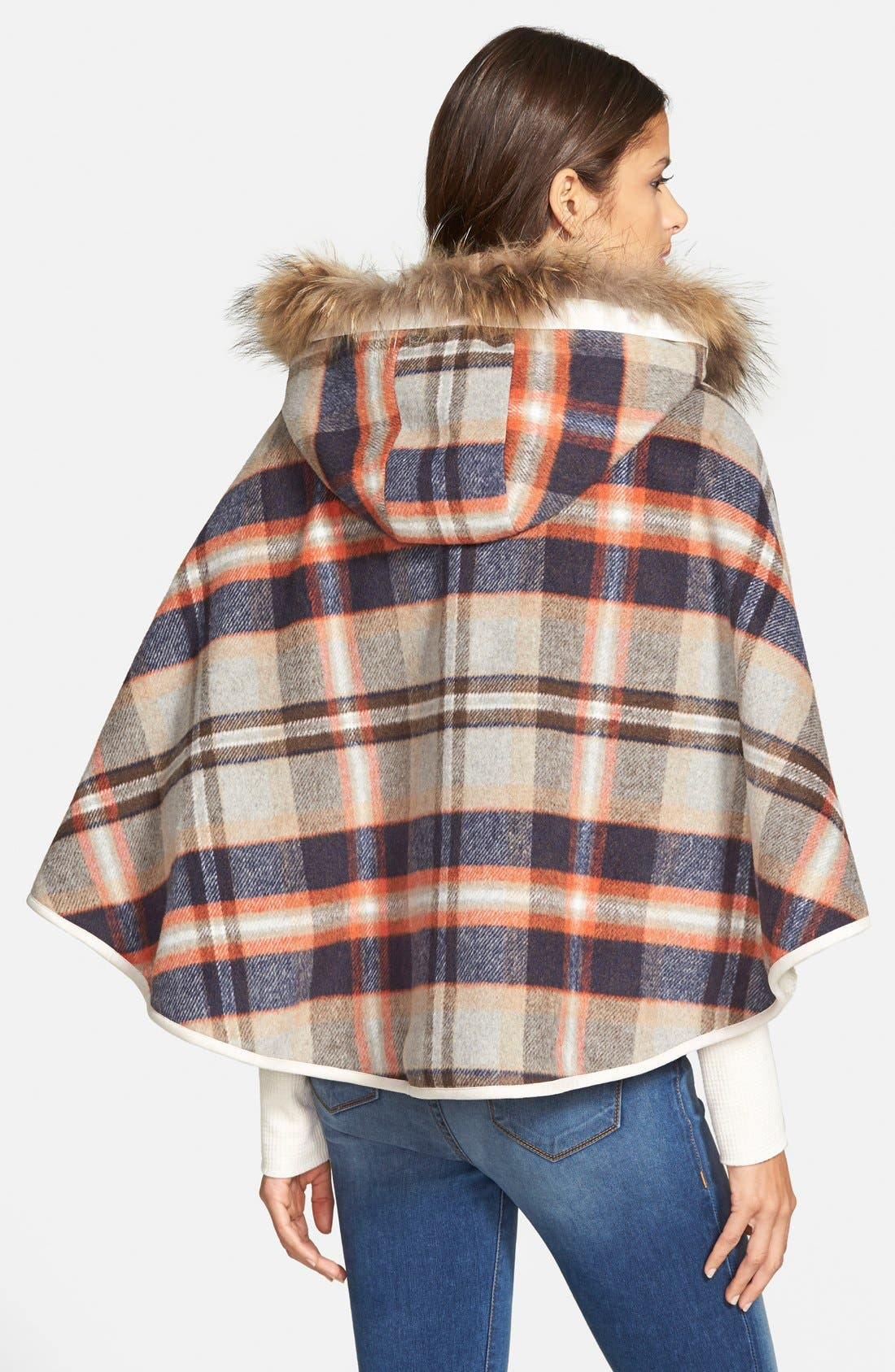 Plaid Hooded Cape with Faux Fur Trim,                             Alternate thumbnail 3, color,                             200