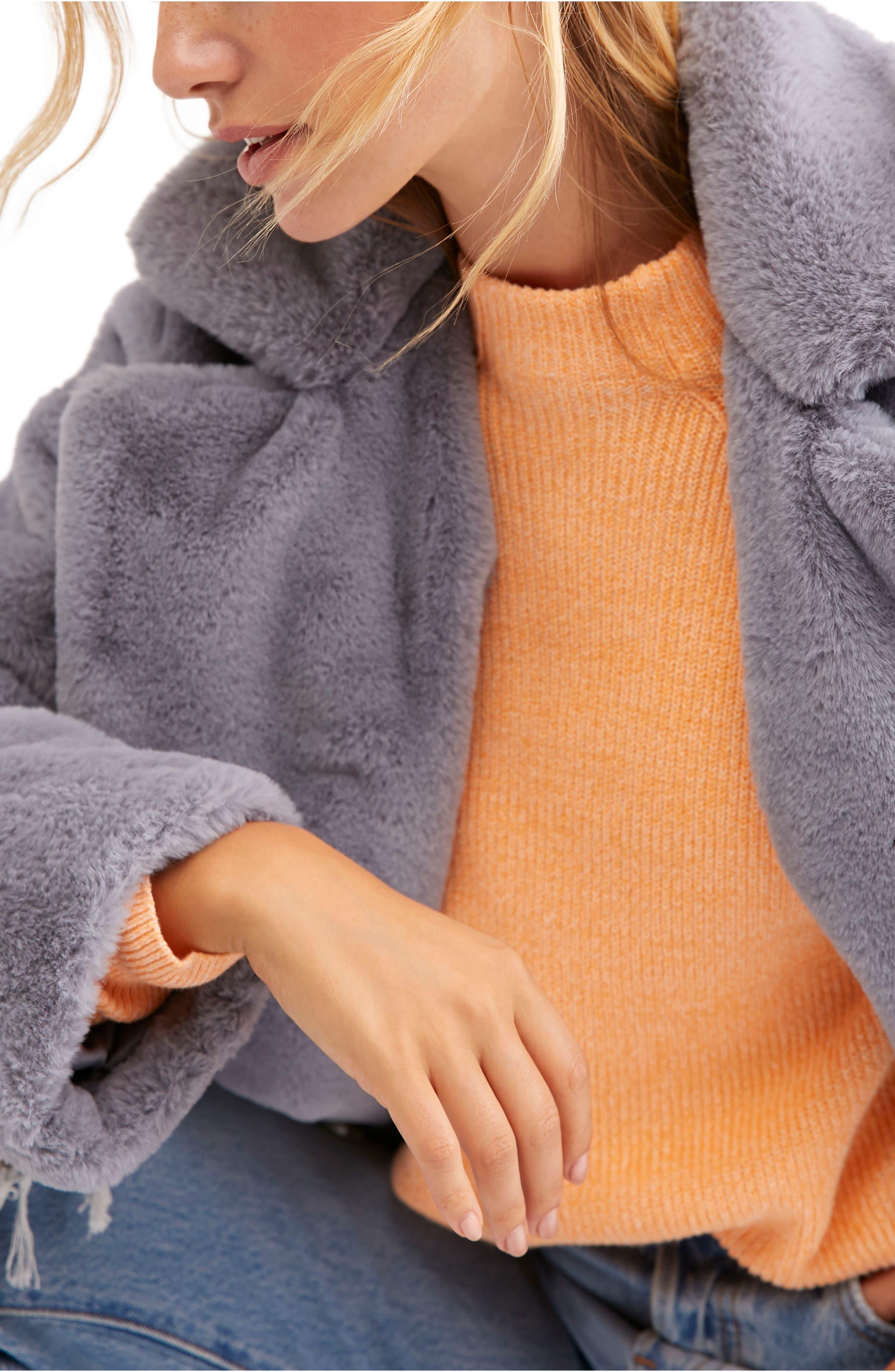 Kate Faux Fur Coat,                             Alternate thumbnail 3, color,                             SKY