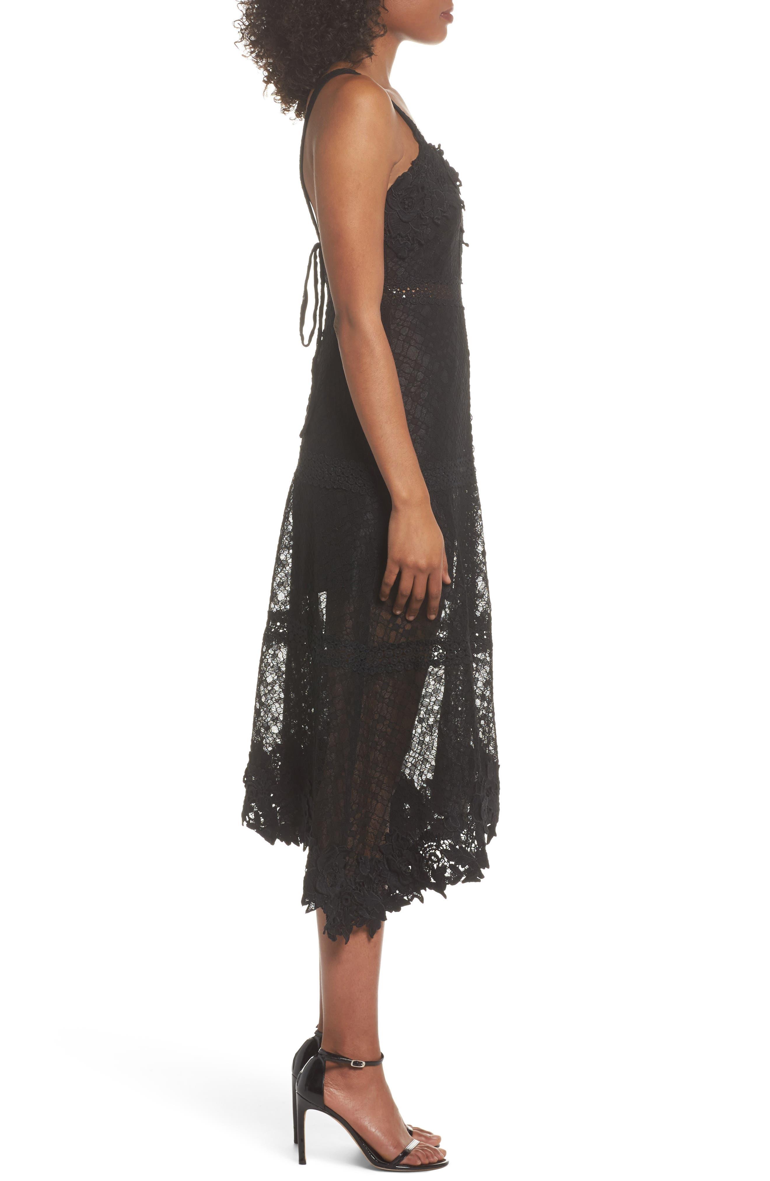 Angelisa Lace Midi Dress,                             Alternate thumbnail 3, color,                             BLACK