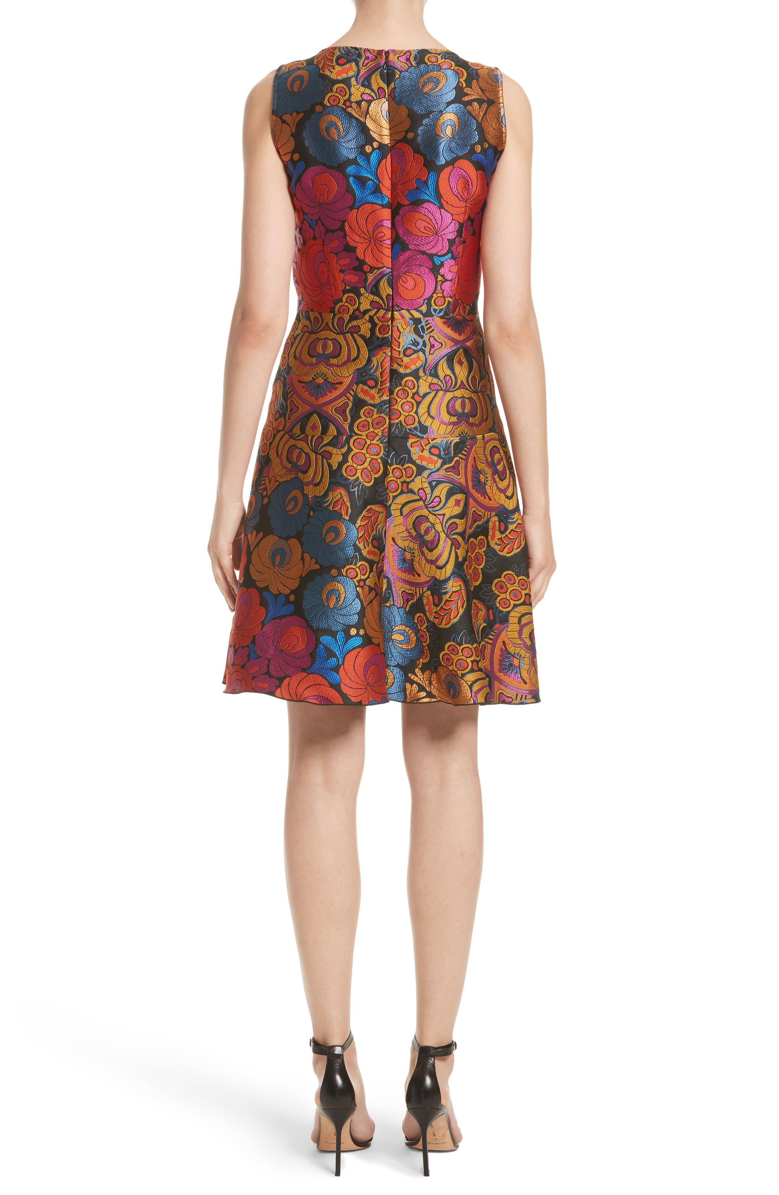 Sleeveless Brocade Dress,                             Alternate thumbnail 2, color,                             001