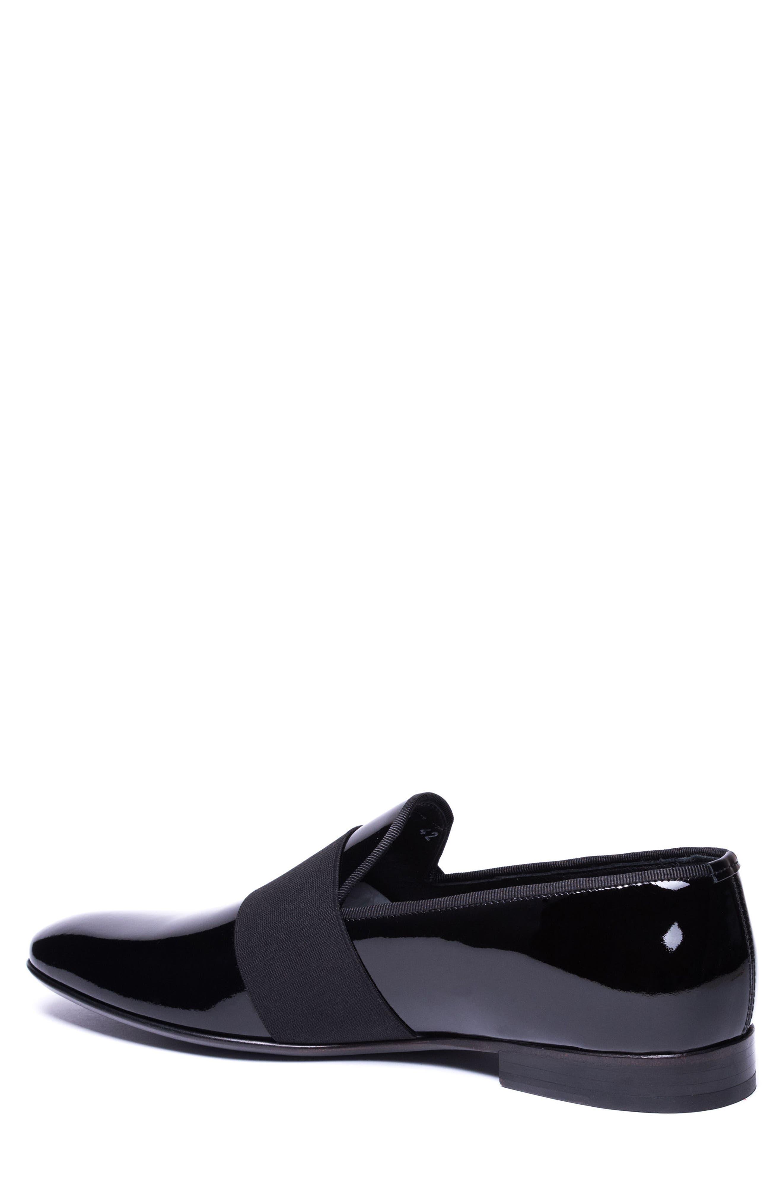 Alessandro Banded Venetian Loafer,                             Alternate thumbnail 2, color,                             BLACK LEATHER