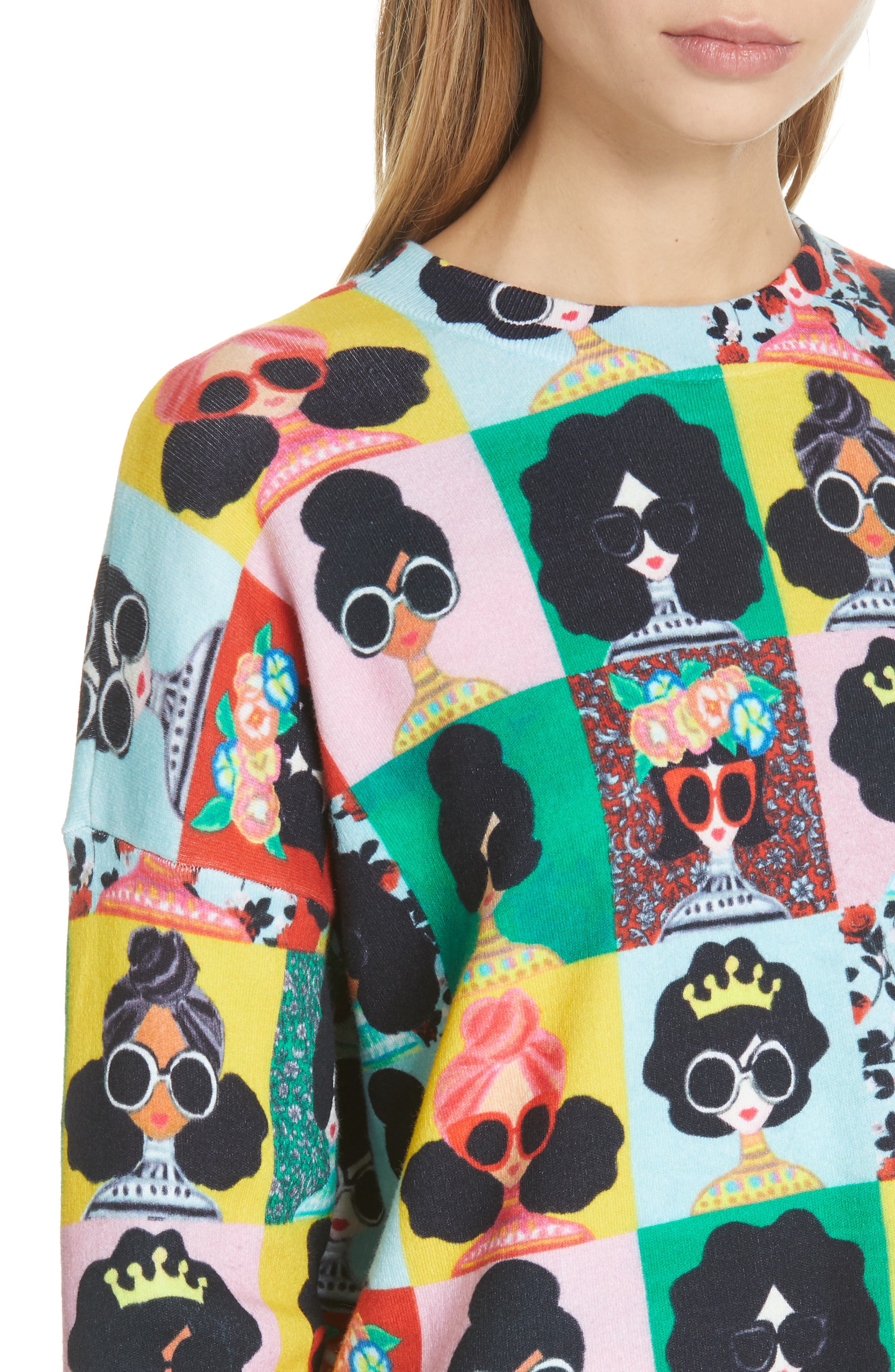 ALICE + OLIVIA,                             Print Pullover,                             Alternate thumbnail 4, color,                             MULTI
