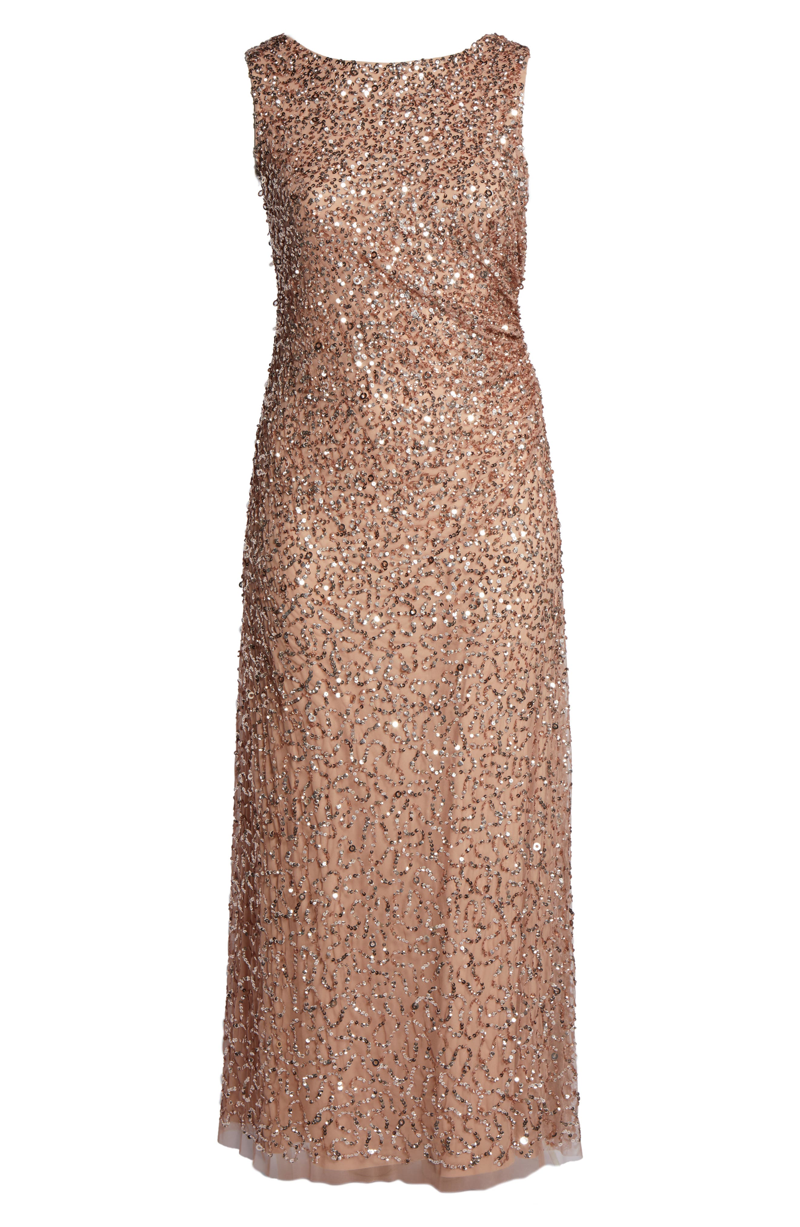 ADRIANNA PAPELL,                             Sequin Cowl Back Gown,                             Alternate thumbnail 6, color,                             658