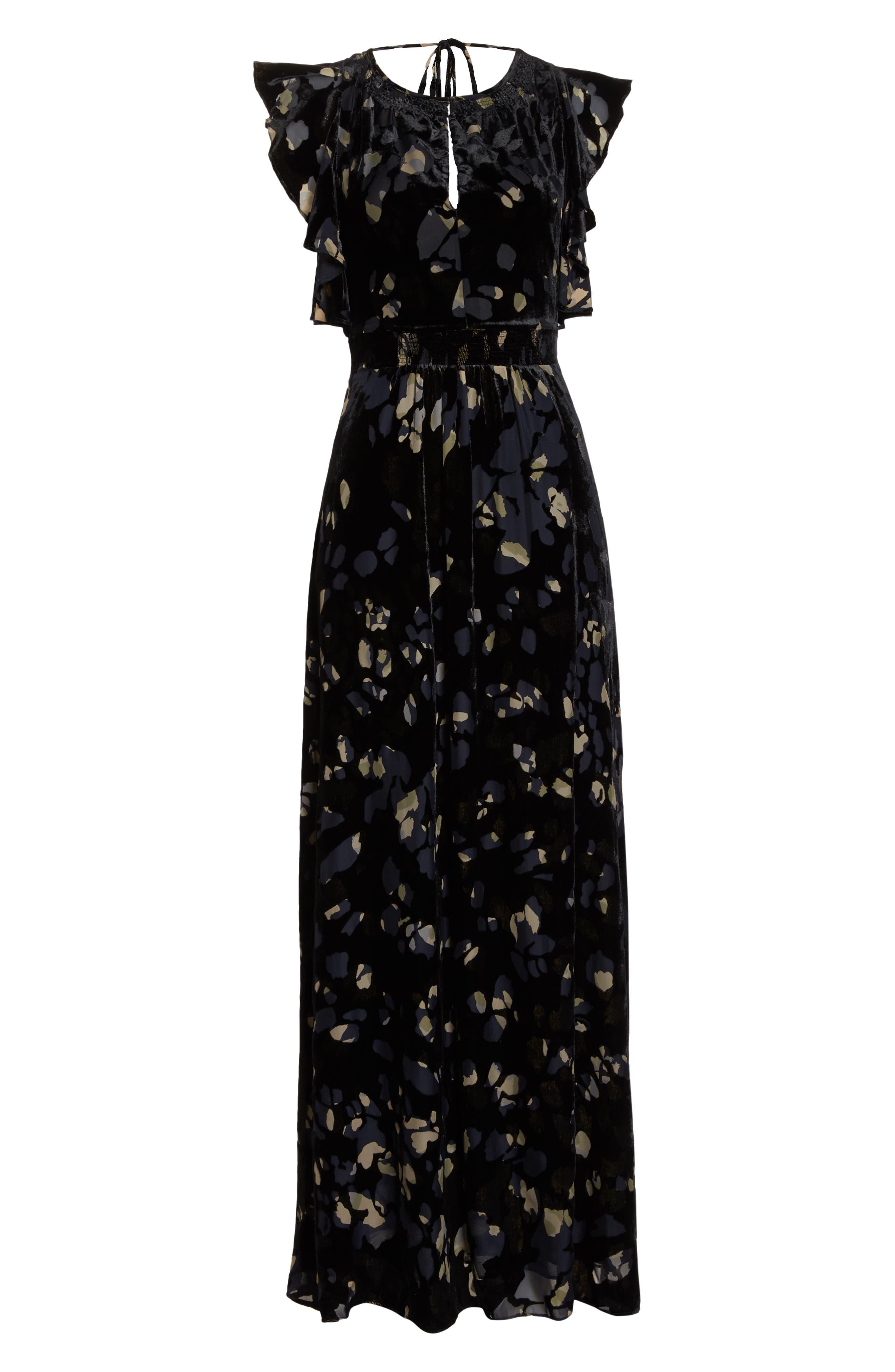 Velvet Maxi Dress,                             Alternate thumbnail 7, color,                             001